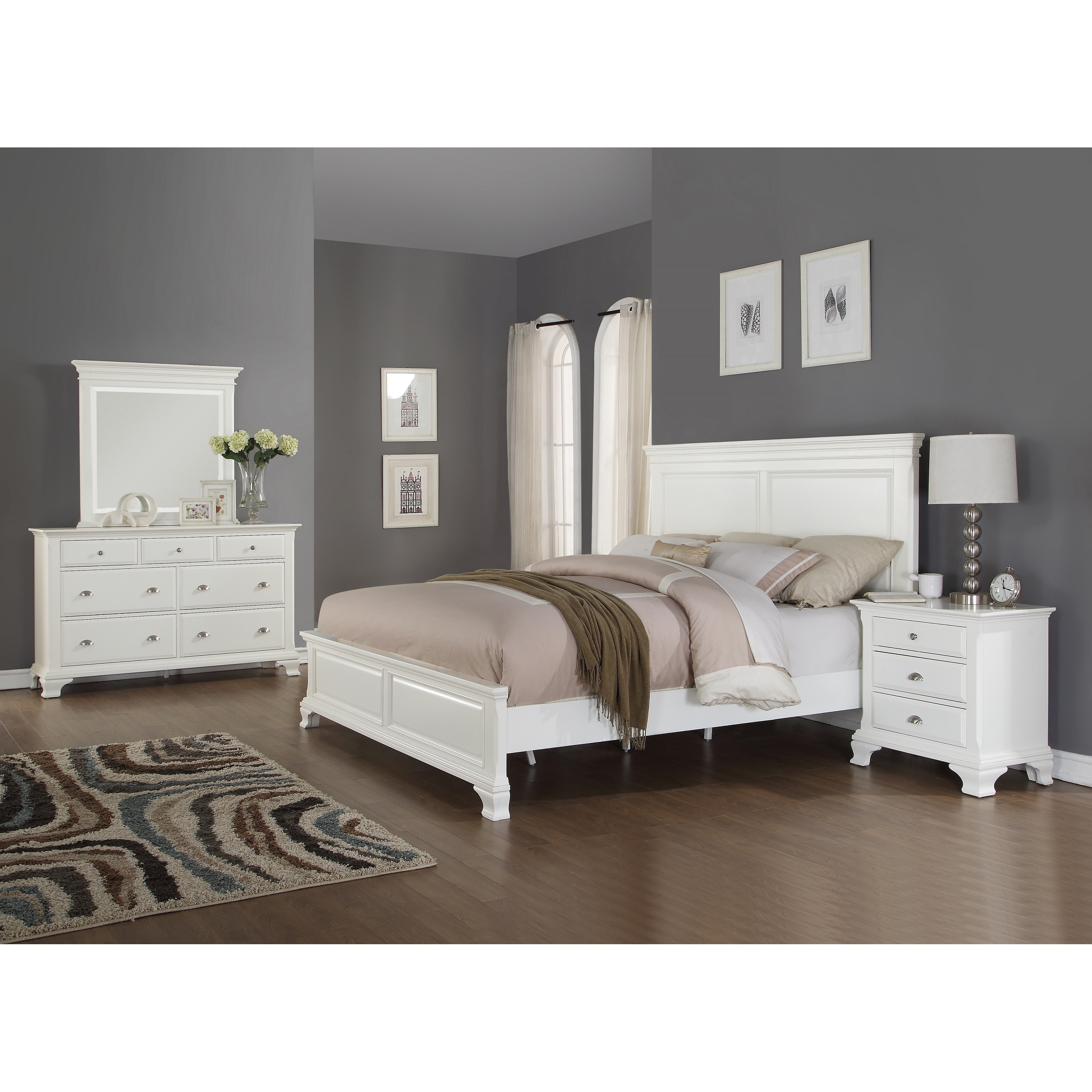 Laveno 012 white wood bedroom furniture set includes queen bed dresser mirror and night stand