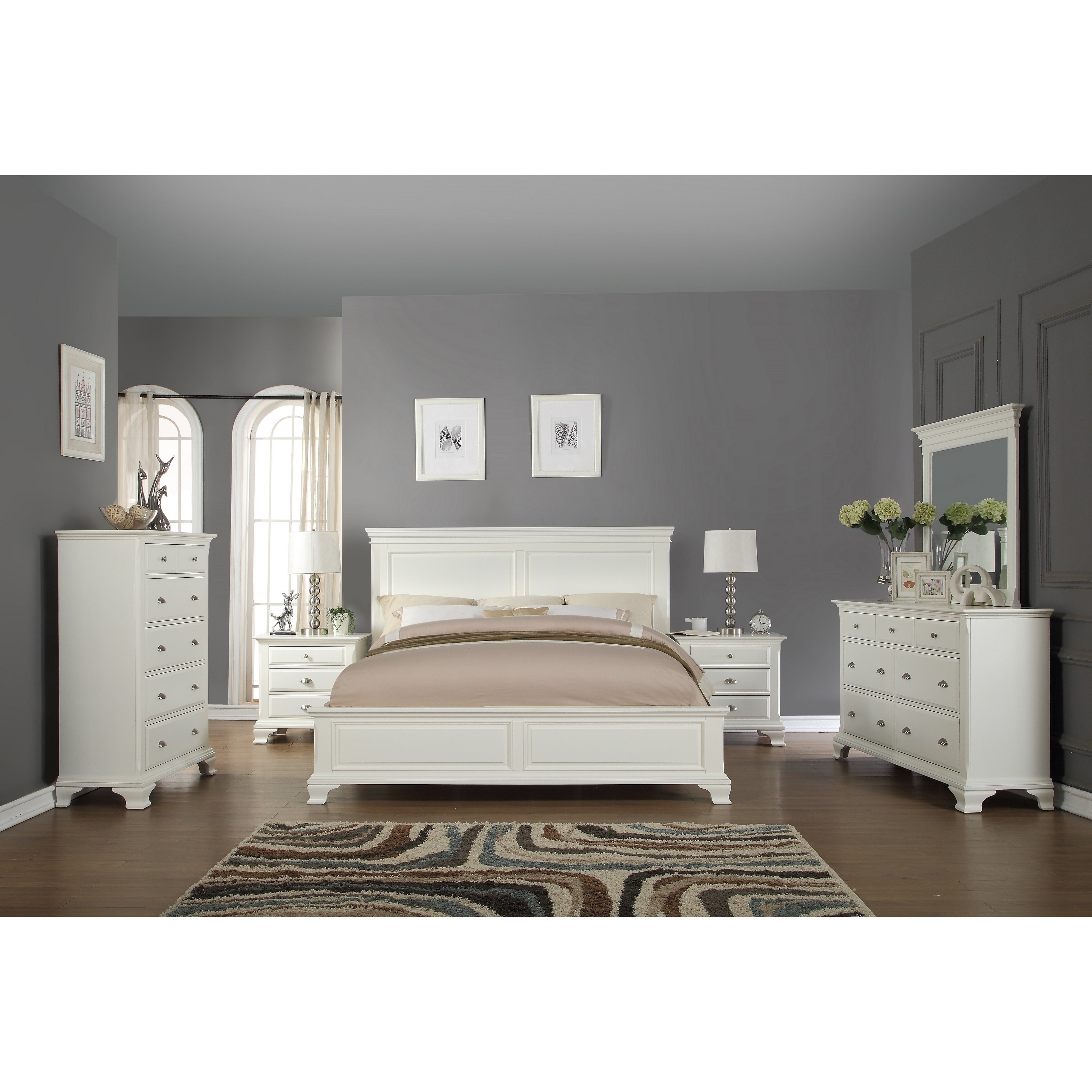 Laveno 012 White Wood Bedroom Furniture Set Includes King Bed Dresser Mirror 2 Night Stands And Chest