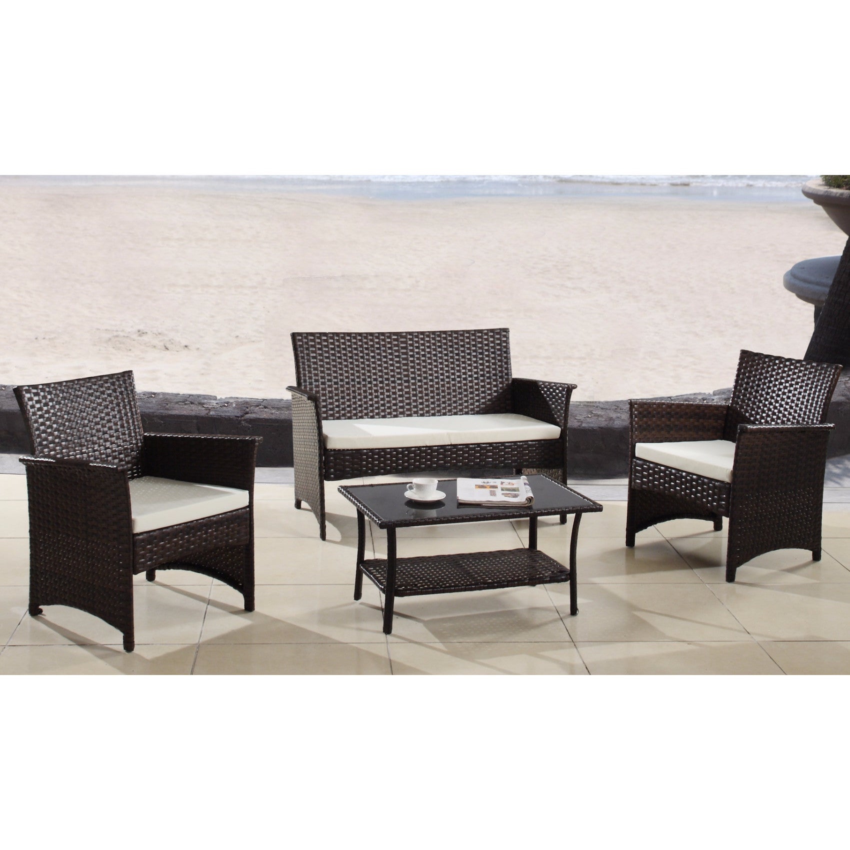 Shop modern outdoor garden patio 4 piece wicker sofa furniture set free shipping today overstock com 12067187