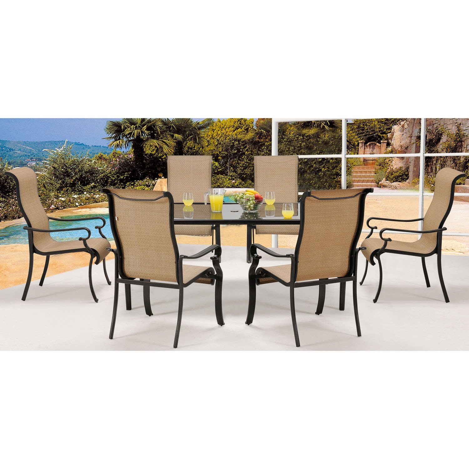 Hanover brigdn7pc gls brigantine tan aluminum 7 piece outdoor dining set with glass top table
