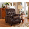 Carolina Top Grain Leather Pushback Recliner with Memory Foam Seating and Button Tufting
