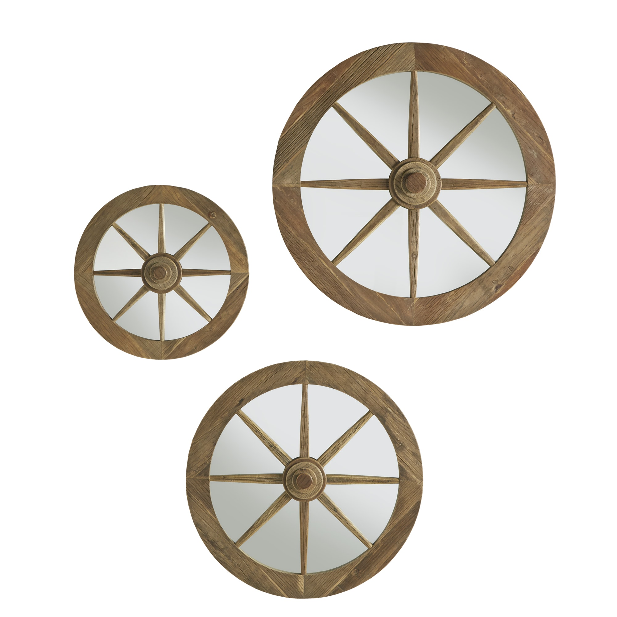 Moravia Round Reclaimed Wood Wagon Wheel Wall Mirror by iNSPIRE Q Artisan -  Free Shipping Today - Overstock.com - 18938295