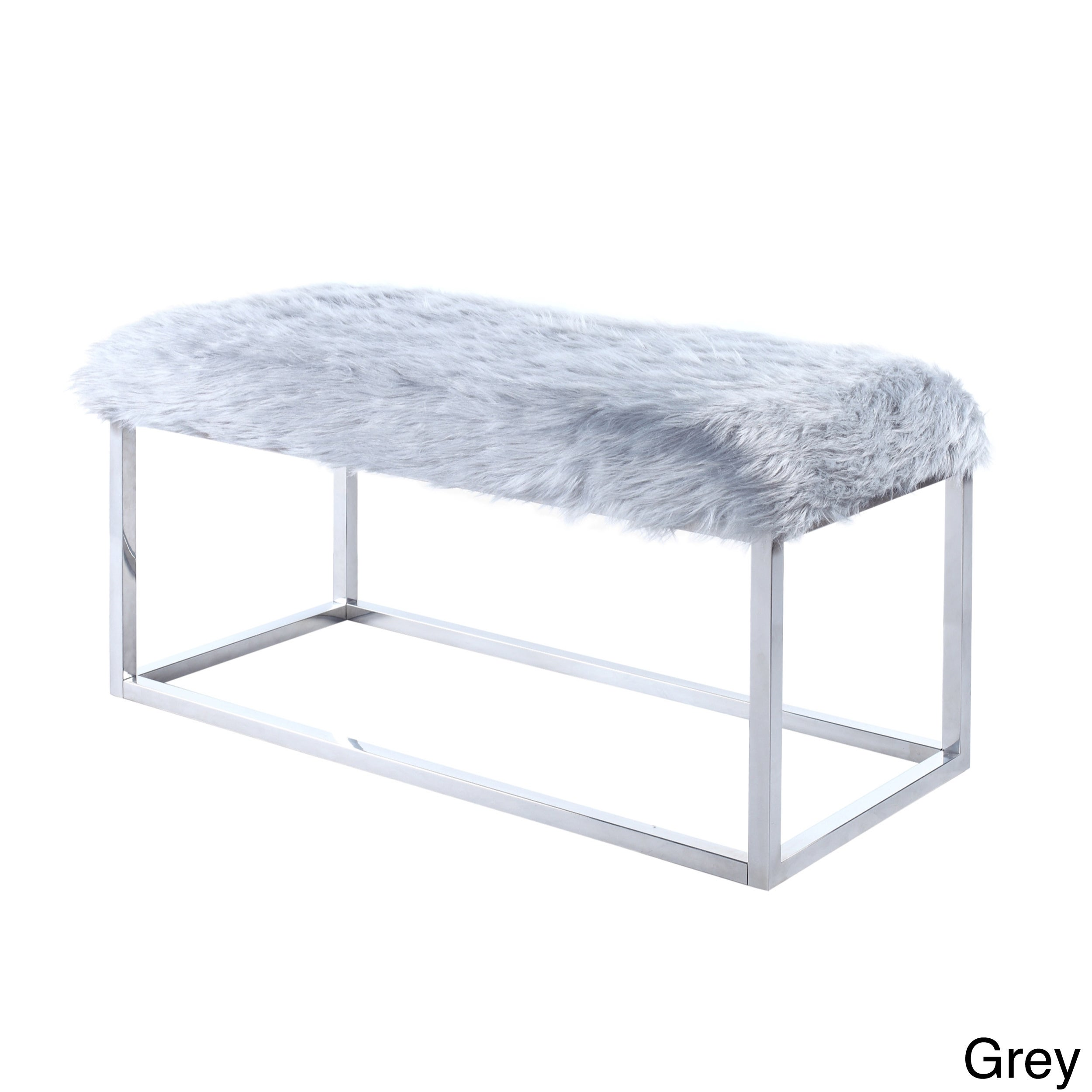 Shop Chic Home Marilyn Luxe Fur Seat Metal Frame Cube Ottoman Bench ...