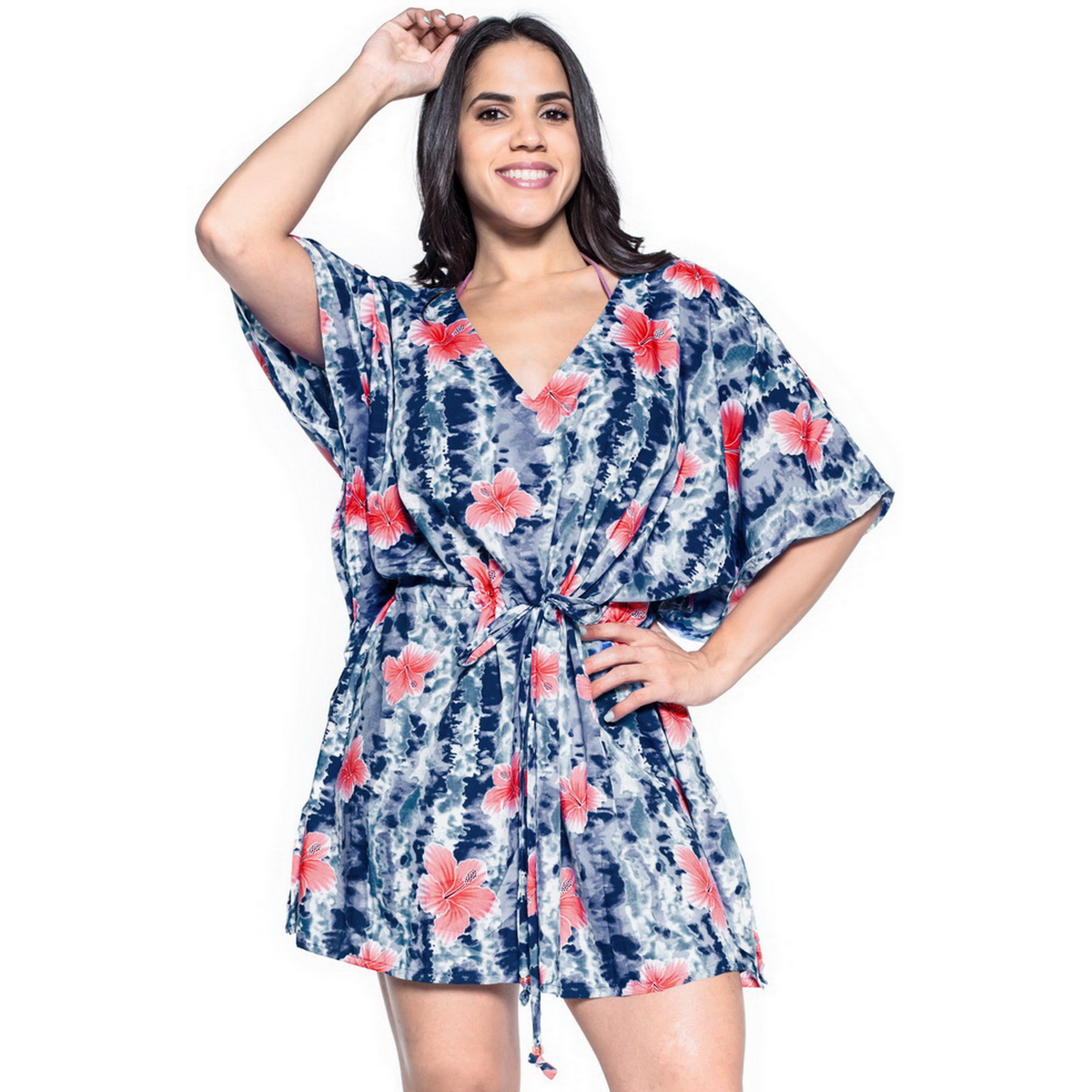 3c5f425ca46ce Shop La Leela Hibiscus Robe Likre Soft Beachwear Dress Kaftan Swimwear  Bikini Cover up Black - Free Shipping On Orders Over $45 - Overstock -  12070738