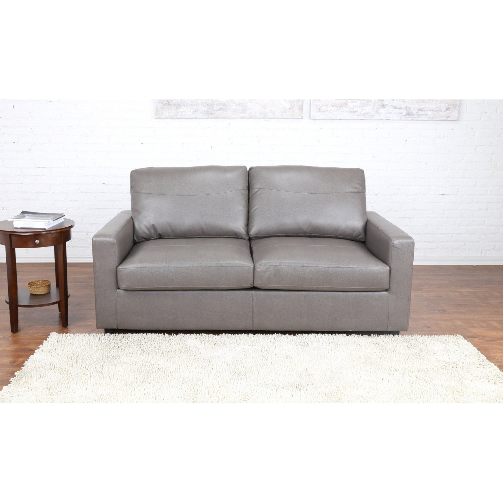 Shop bonded leather sleeper pull out sofa and bed free shipping today overstock com 12070816