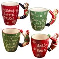 Certified International 3D Handled Santa Snowman Elf Penguin Mugs (Pack of 4)