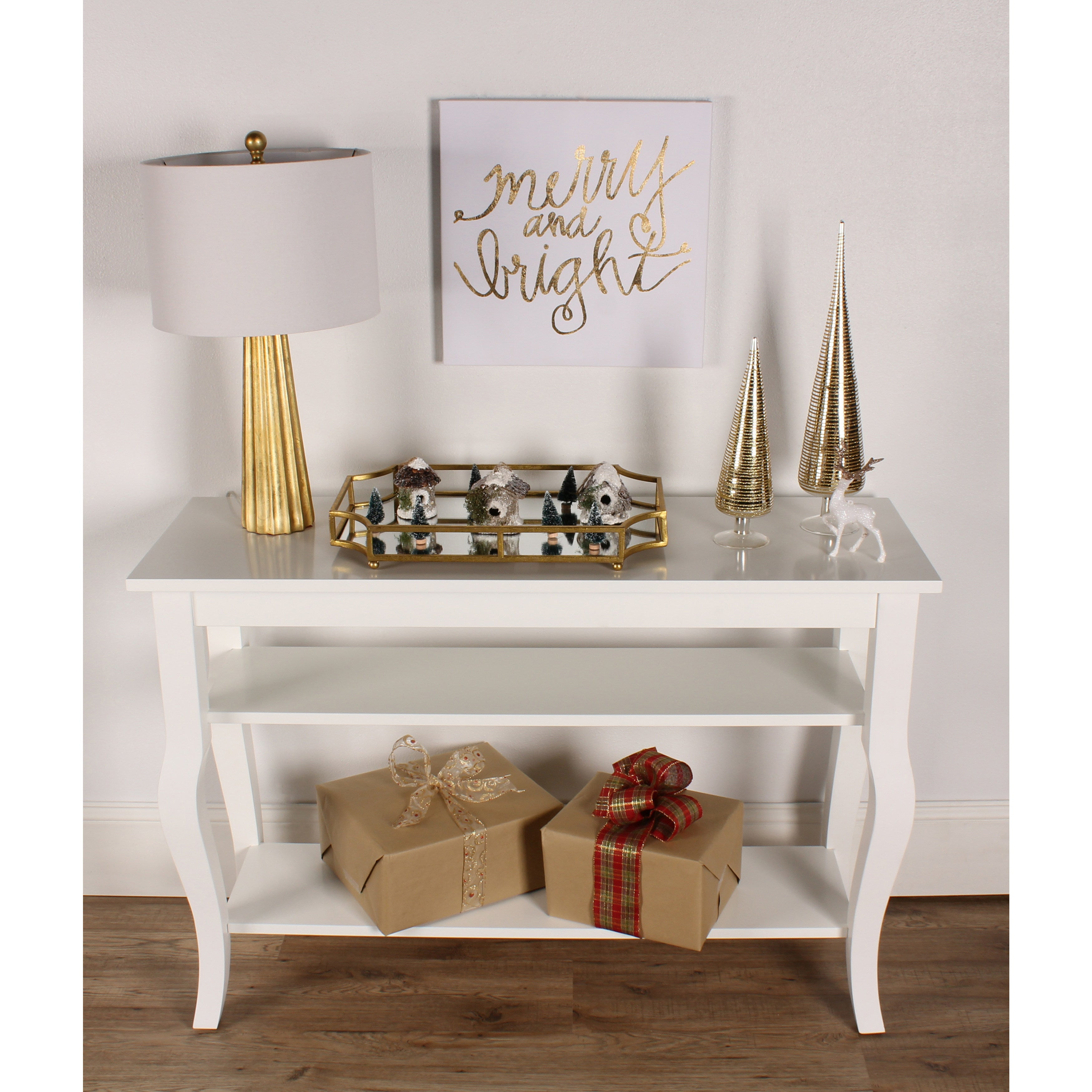 Shop Kate And Laurel Lillian Wood 2 Shelf Console Table With Curved Legs    On Sale   Free Shipping Today   Overstock.com   12071092