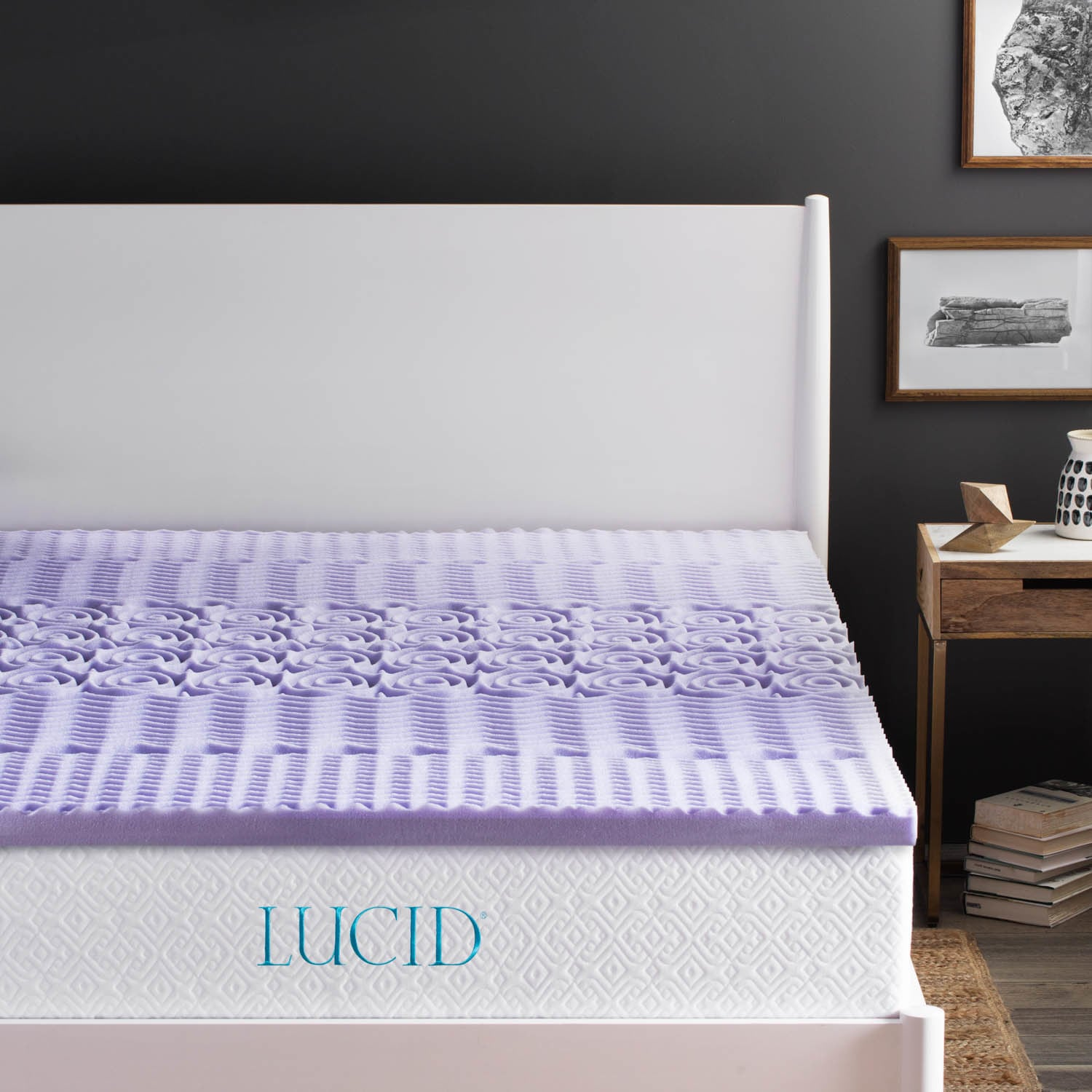LUCID 2 inch Zoned Lavender Infused Memory Foam Mattress Topper