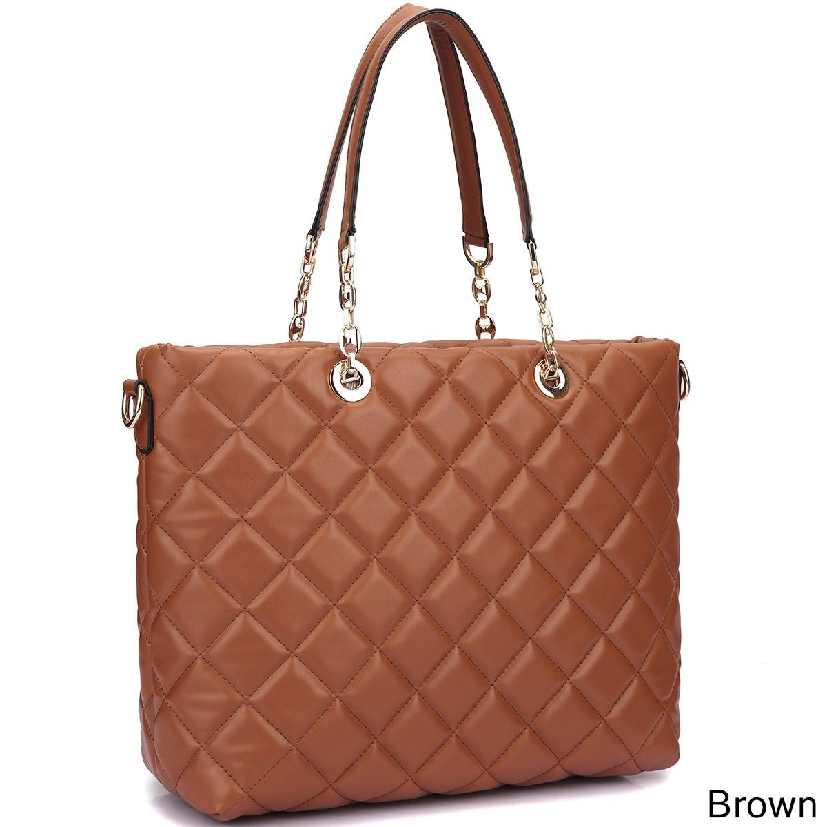 430511994e34 Shop Dasein Faux Leather Quilted Tote Bag with Chained Handles ...