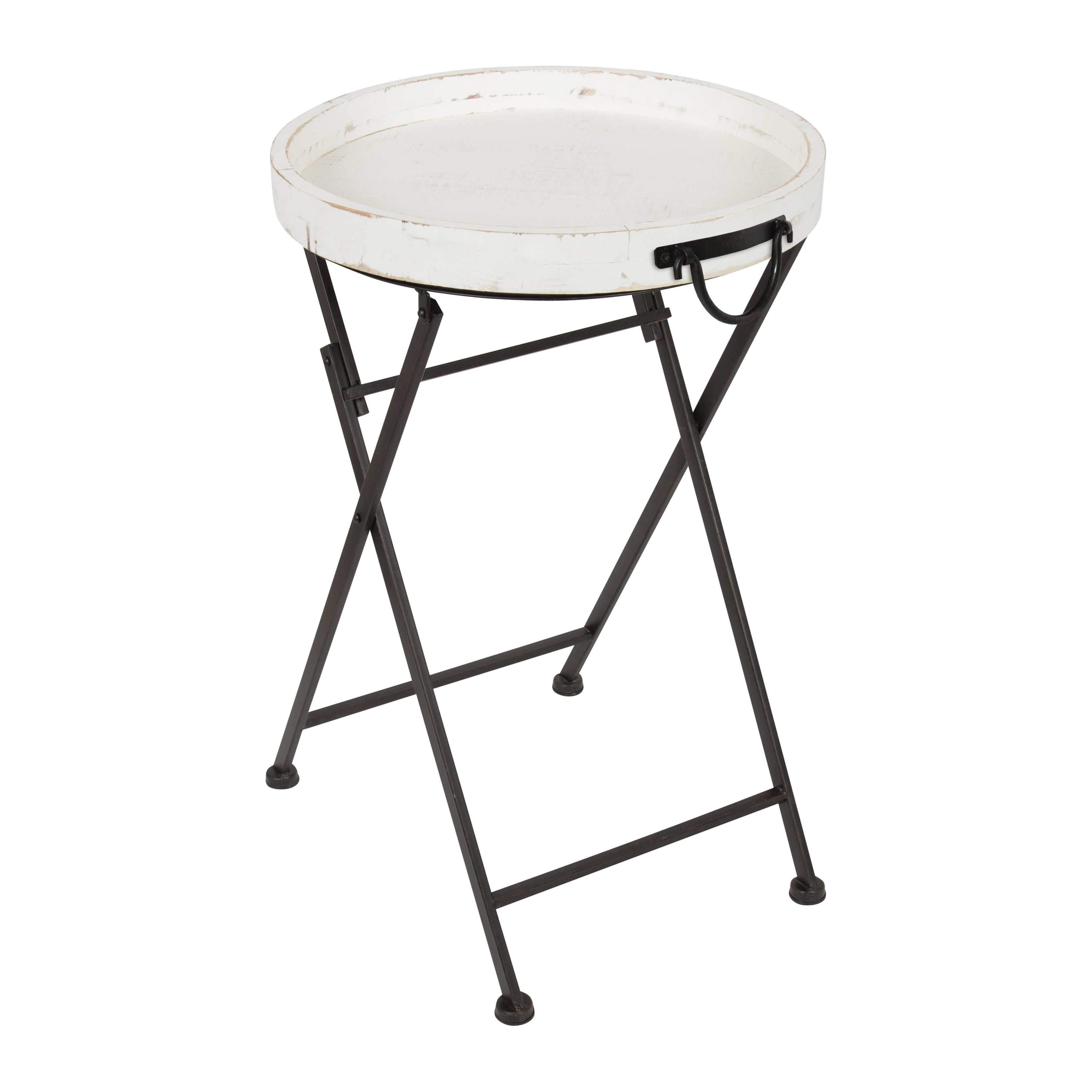 Shop Metal Foldable Black Metal And Rustic Wood Round Tray Table   On Sale    Free Shipping Today   Overstock.com   12073889
