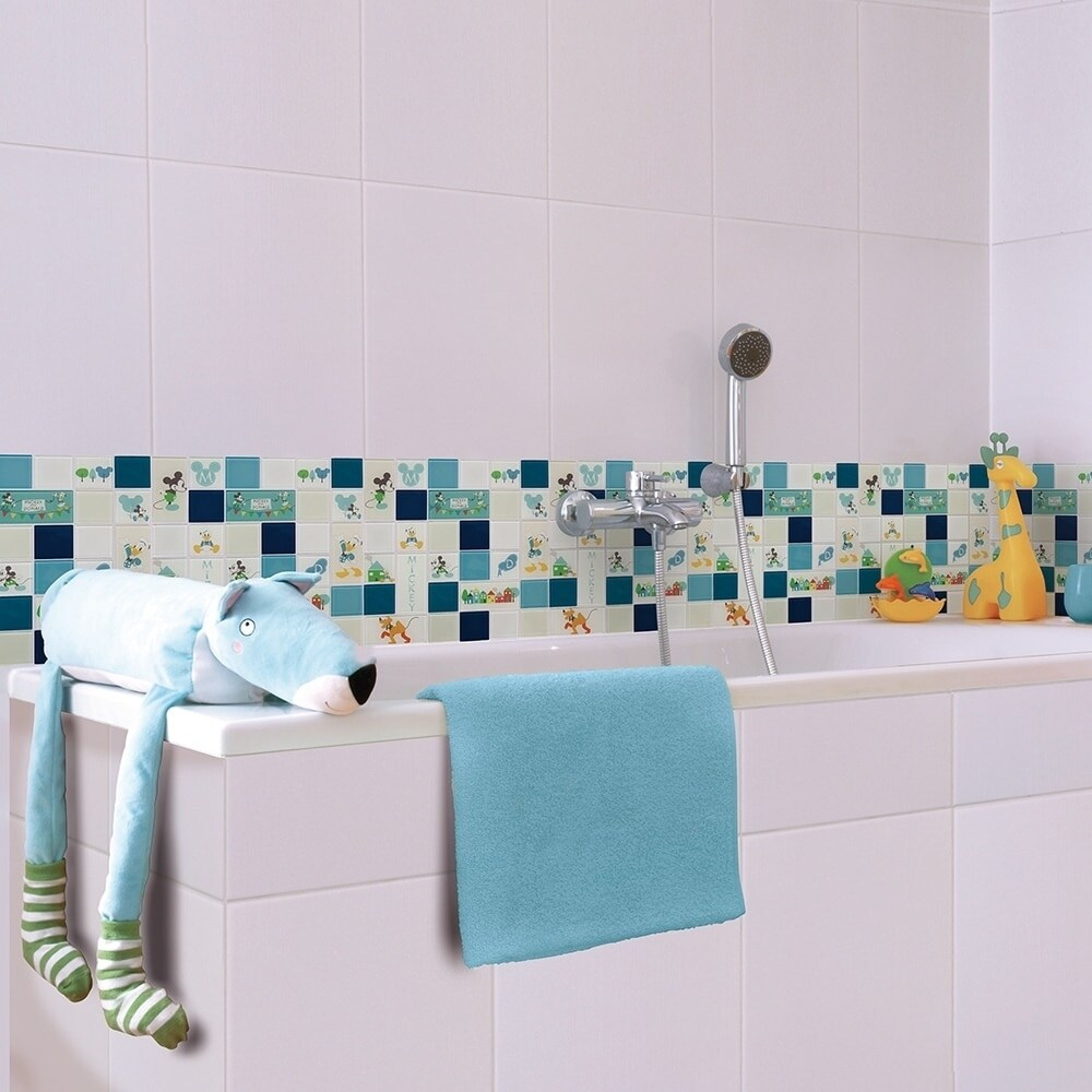 Shop Disney 11.75x11.75-inch Classic Aqua Glass Mosaic Wall Tile ...