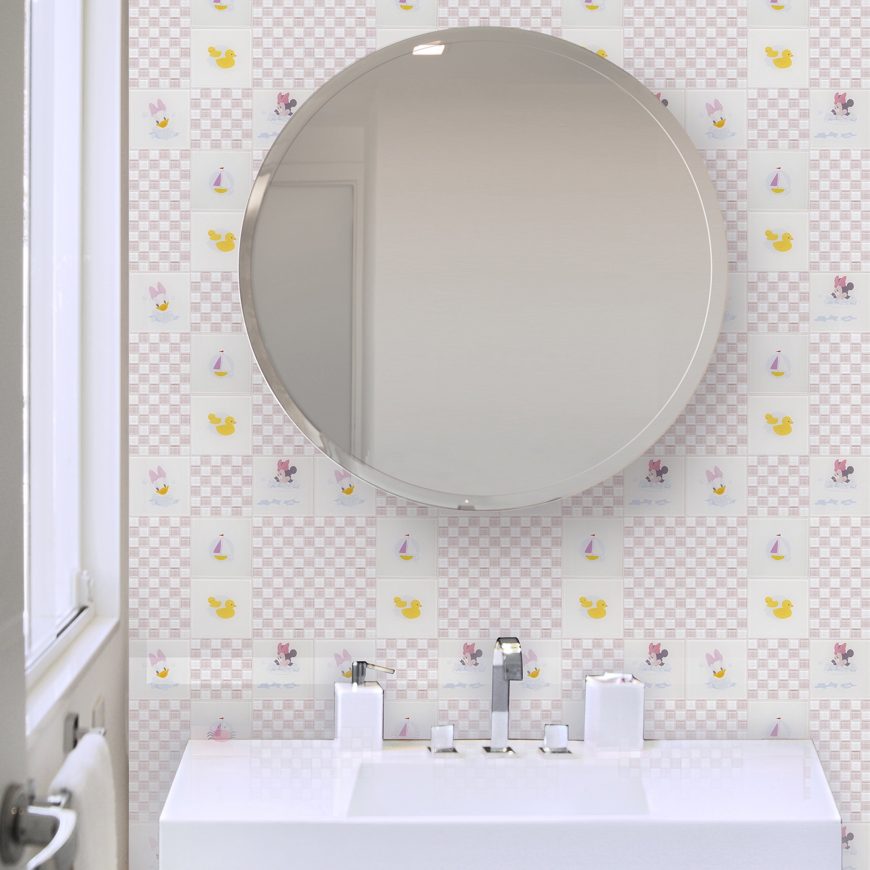 Disney 11.75x11.75-inch Baby Pink Glass Mosaic Wall Tile - Free ...