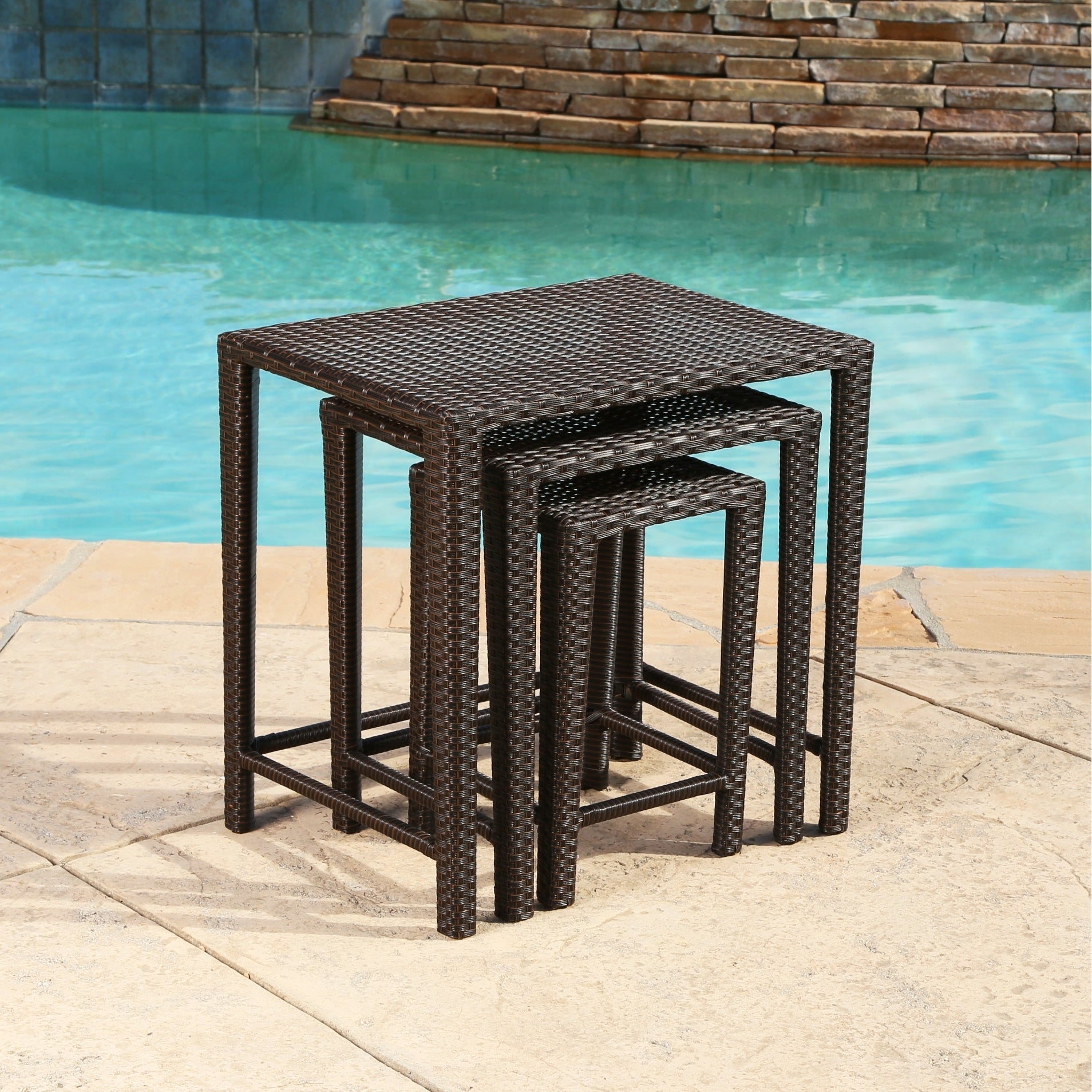 Shop Abbyson Renee Outdoor Wicker Nesting Tables   On Sale   Free Shipping  Today   Overstock.com   12074803