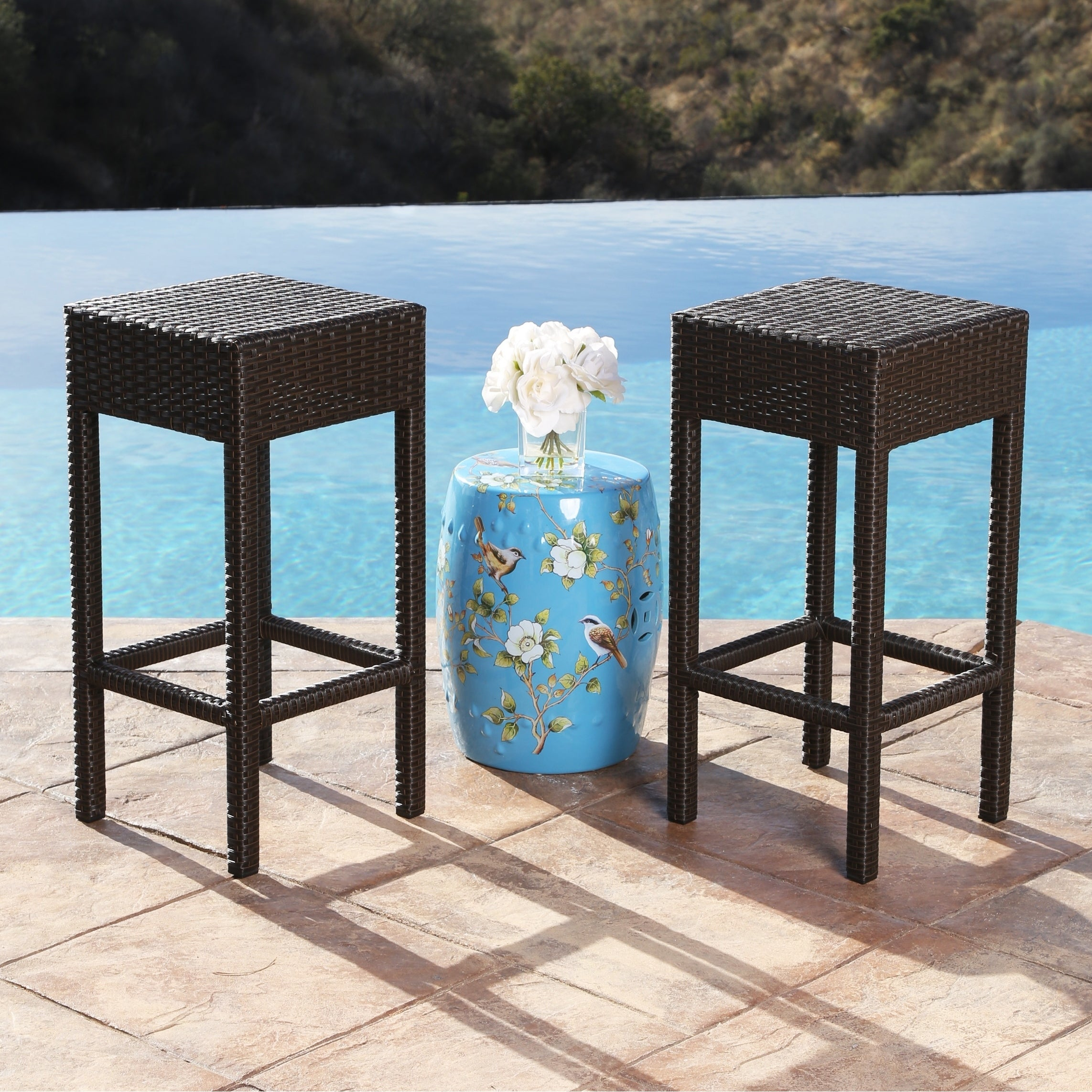 Shop Abbyson Cailen Outdoor Wicker Bar Stools (Set of 2) - On Sale ...