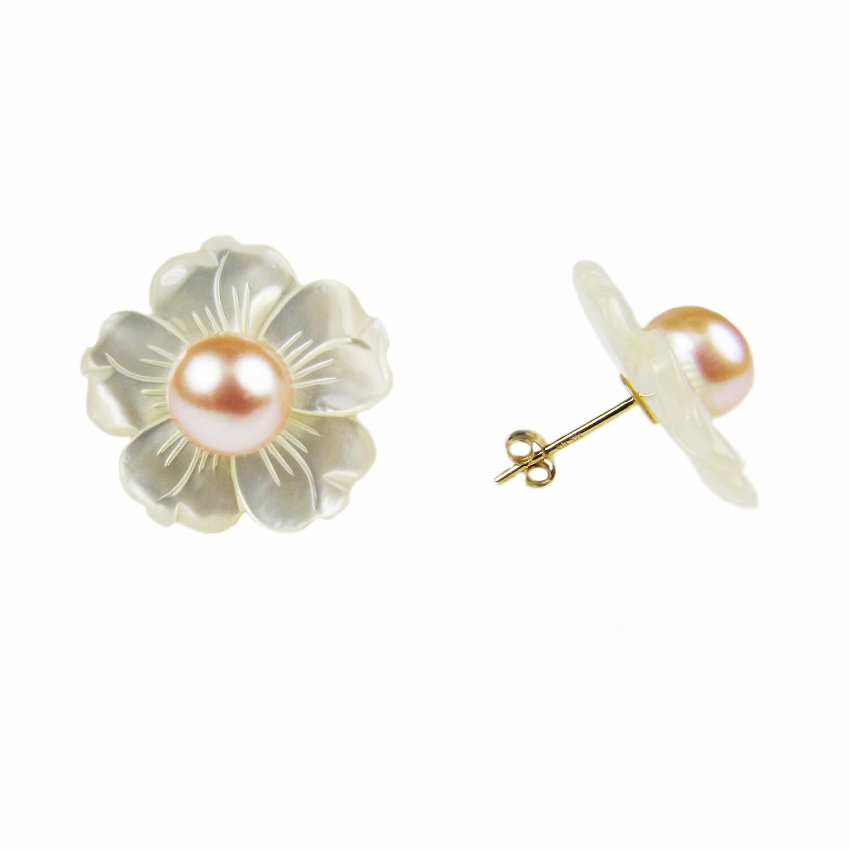 Deco PEARL stud earrings  pink 4-5mm Sterling 925 Silver Natural Cultured Pearls
