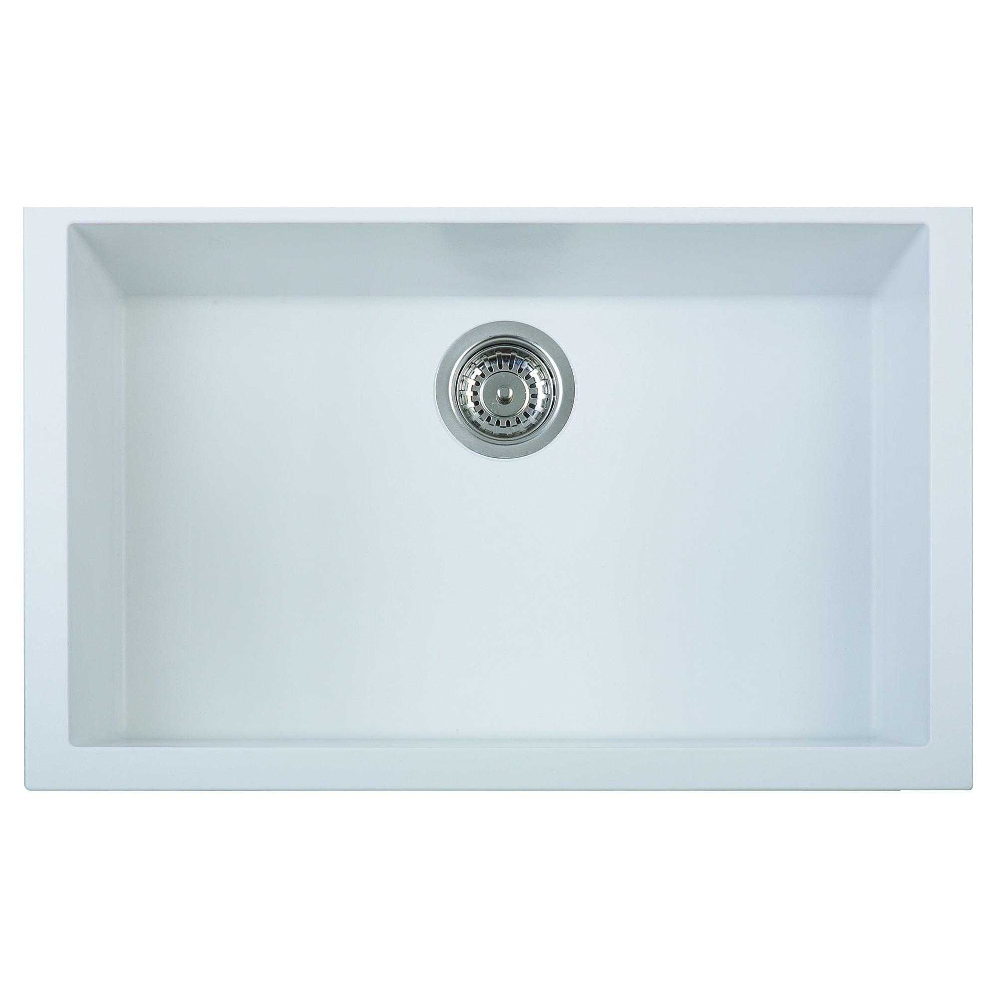 Shop Alfi White Granite Composite 30-inch Undermount Single Bowl ...