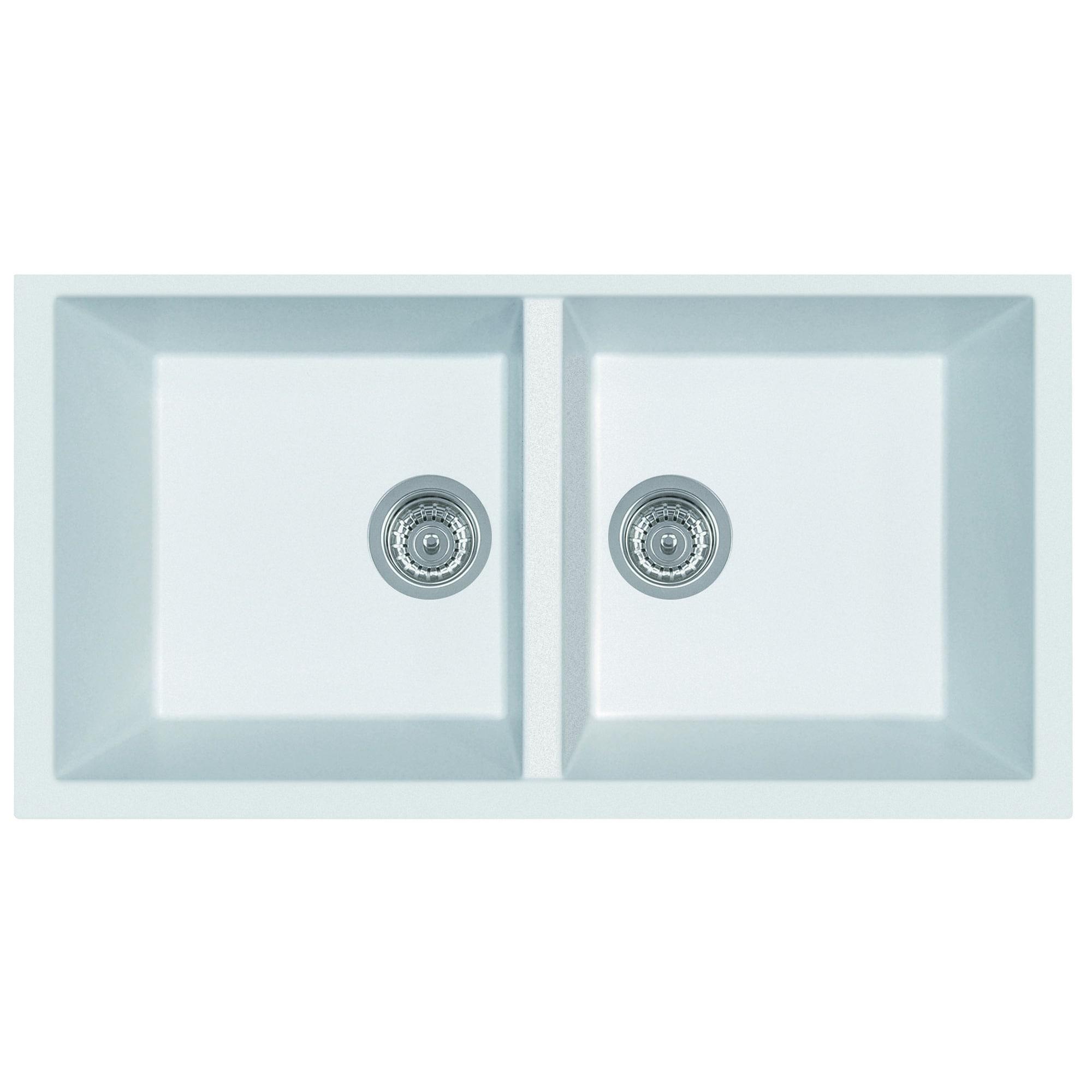 Shop Alfi White Granite Composite 34-inch Undermount Double-bowl ...