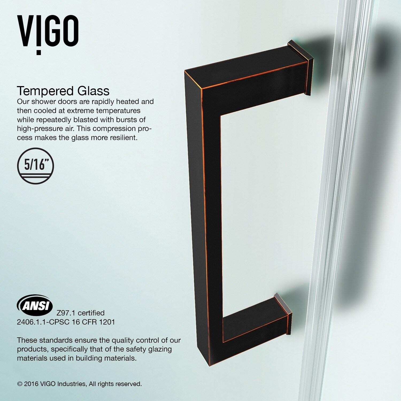 VIGO SoHo 28-inch Adjustable Frameless Shower Door with Privacy ...