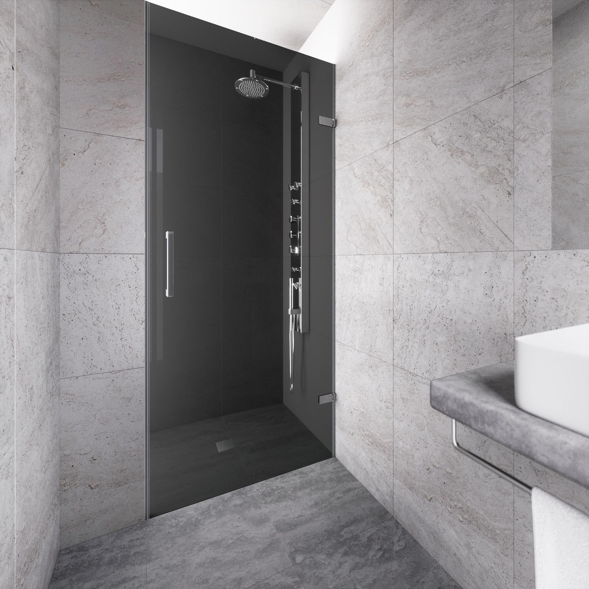 Shop VIGO SoHo 28-inch Adjustable Frameless Shower Door with Sheer ...