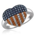 JewelonFire 1/3 CTTW Multi Color Diamond American Flag Ring in Sterling Silver