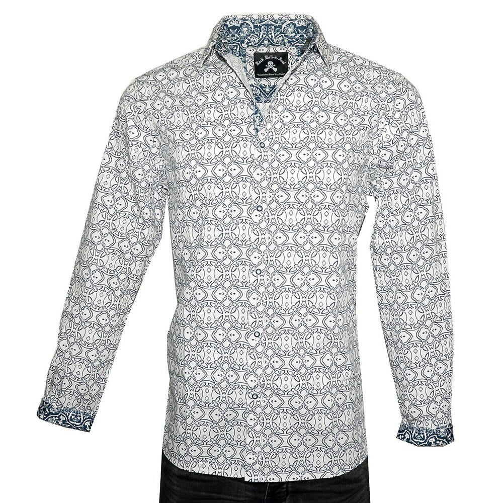 Shop Mens Blue Bayou Geometric Design Long Sleeve Fashion Button