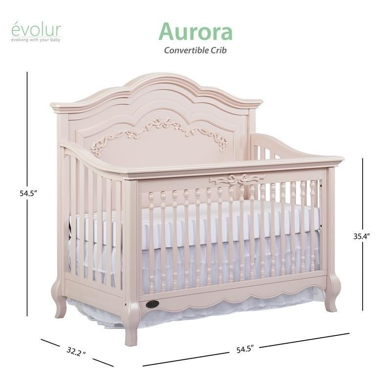 Shop Evolur Aurora 5 In 1 Convertible Crib Pink Free Shipping