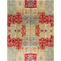 Modern Holmes Beige/Red Wool Hand-knotted Latex-free Rug (8' x 10')