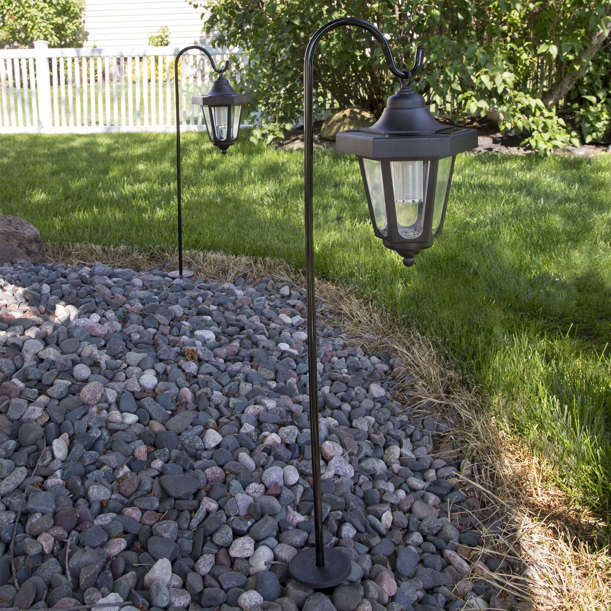 Shop Pure Garden Solar LED Black Hanging Coach Lantern (Set Of 2)   On Sale    Free Shipping On Orders Over $45   Overstock.com   12084732