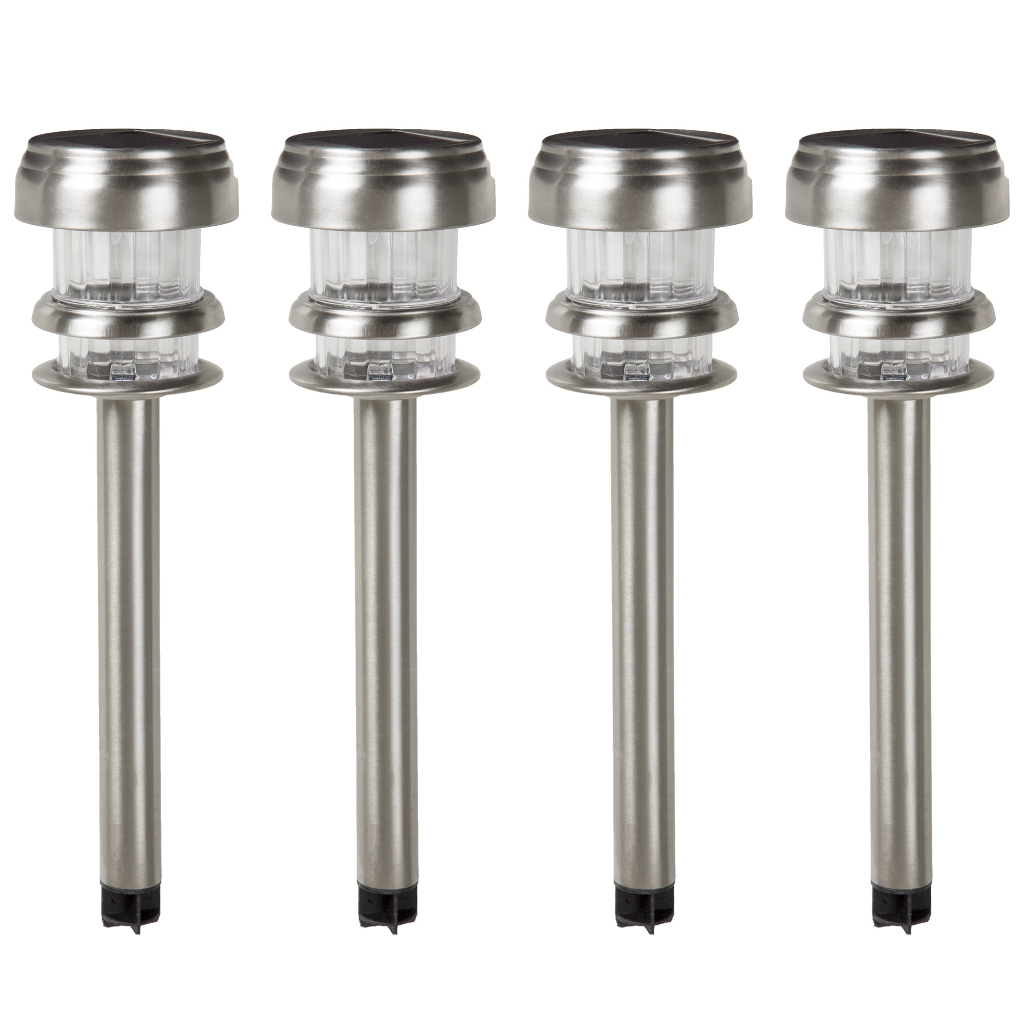 Pure Garden Stainless Steel Solar Ed Led Path Lights Set Of 4 On Free Shipping Orders Over 45 12084734