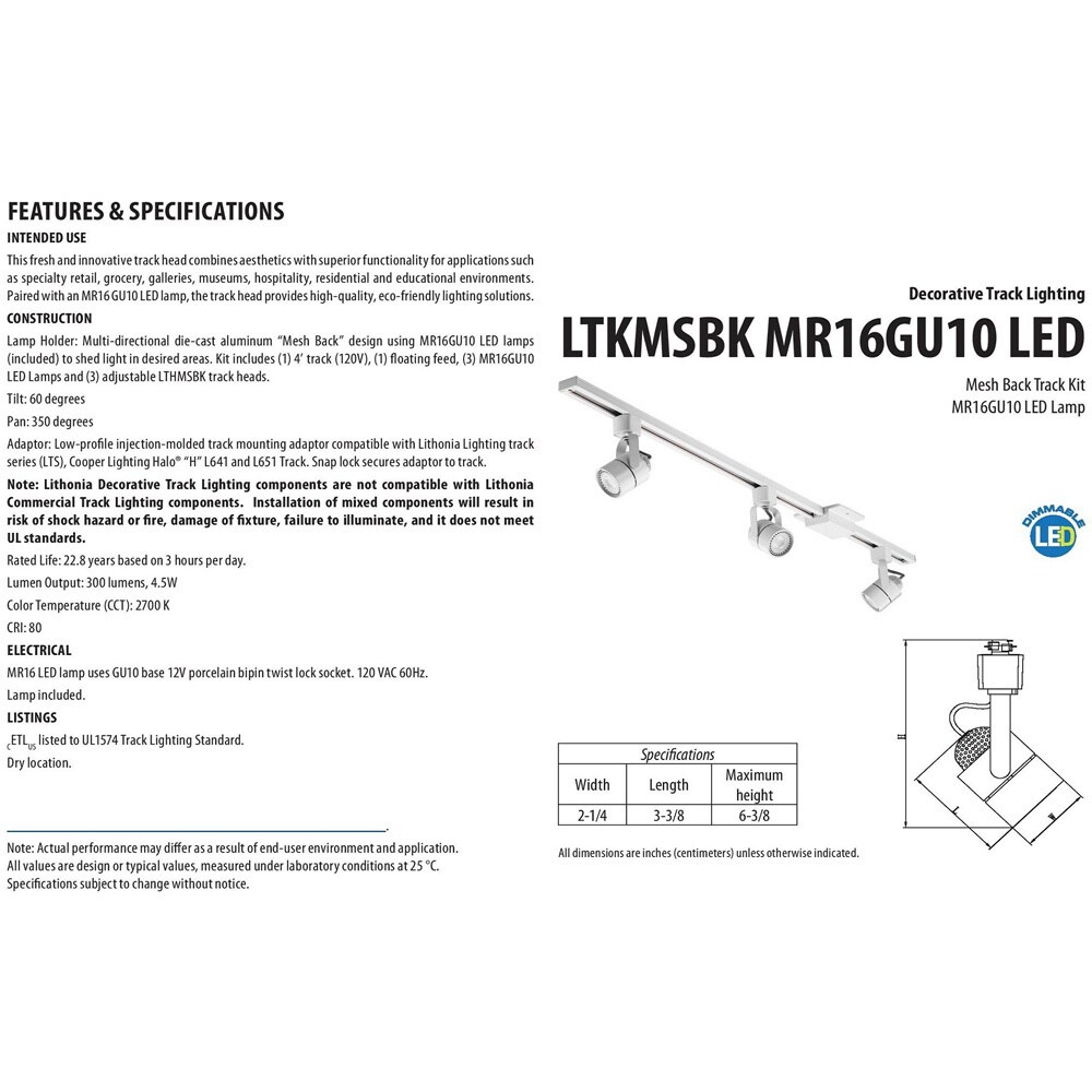 track lighting white. Lithonia Lighting LTKMSBK MR16GU10 LED 27K MW M4 3-light 44.5-inch White Mesh Back Track Kit - Free Shipping Today Overstock 18950103 H