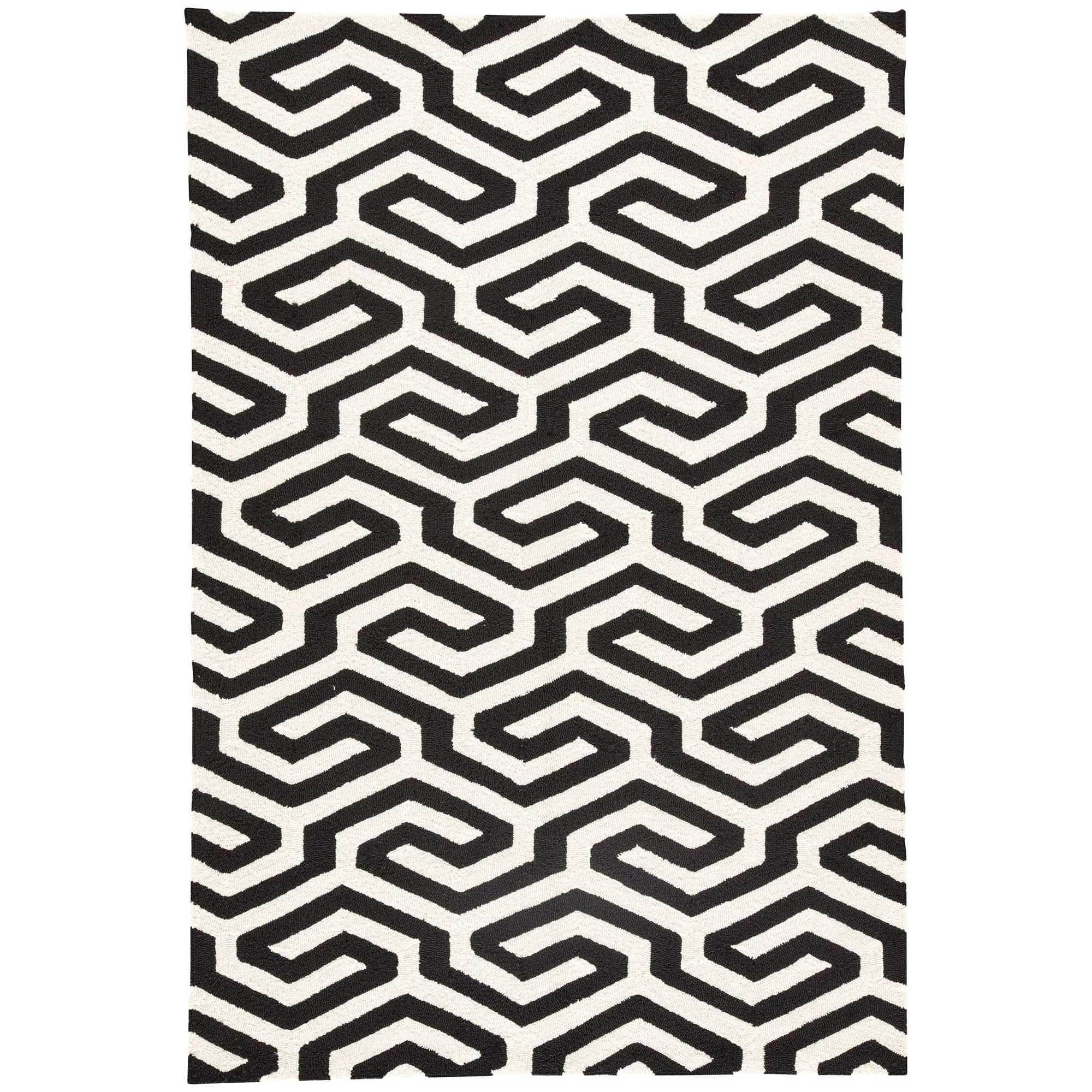 Shop Casselton Indoor Outdoor Geometric Black White Area Rug 5 X