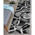 Contemporary Modern Circles Grey Abstract Area Runner Rug (2' x 7'2) - 2' x 7'2""