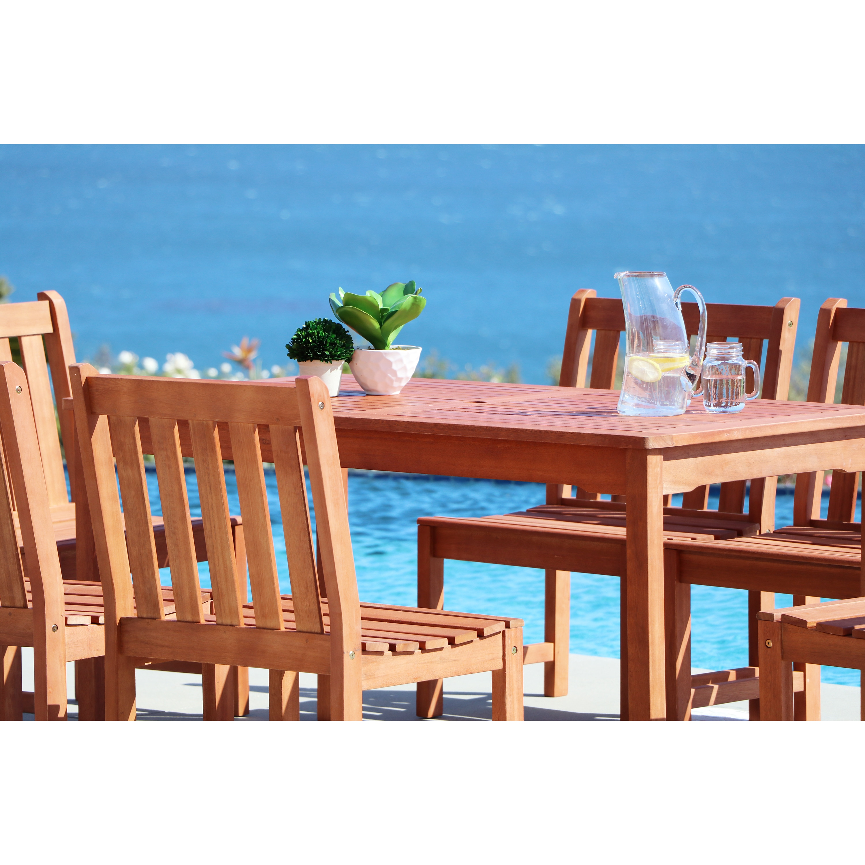 Shop Malibu Eco-friendly 6-piece Outdoor Hardwood Dining Set with ...