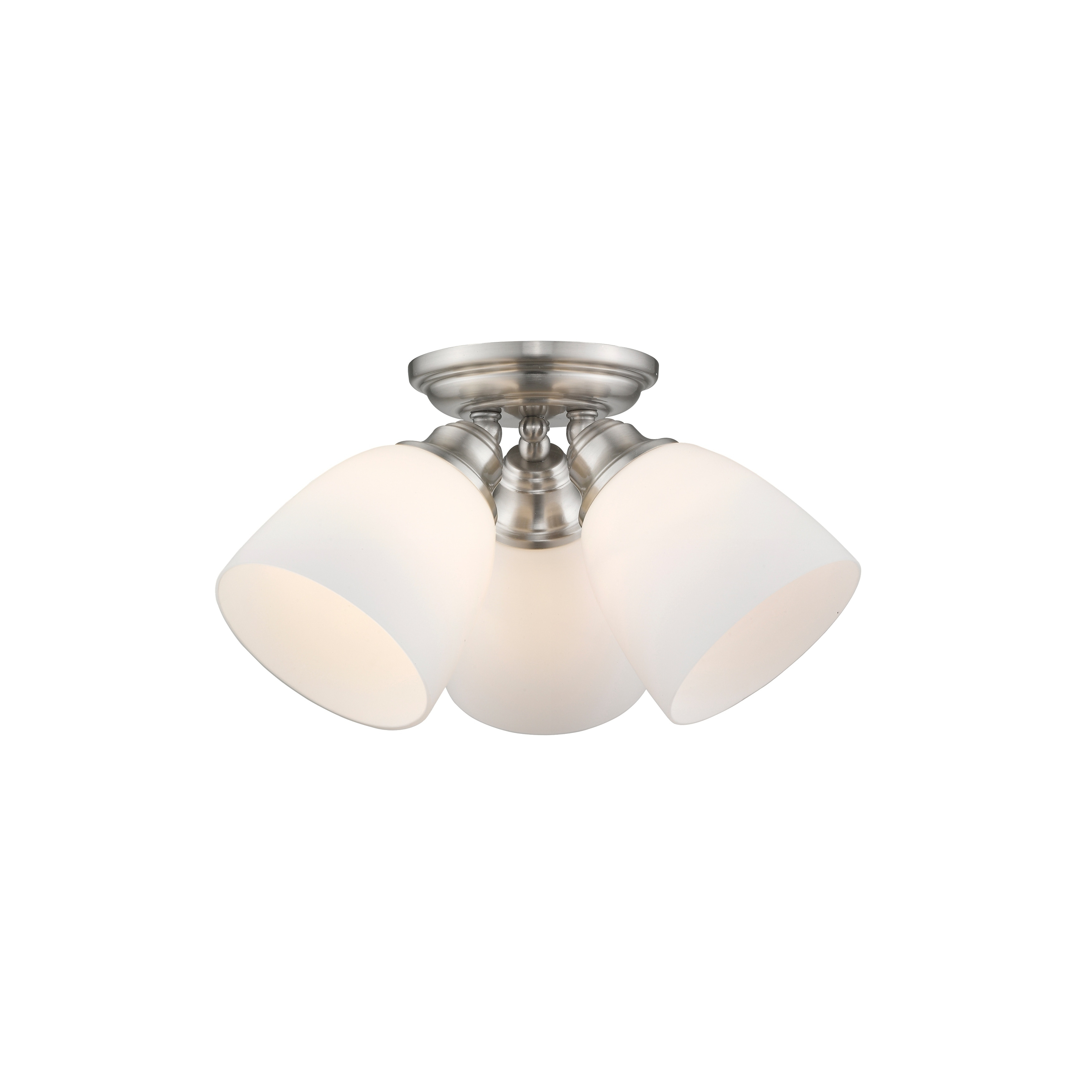Shop livex lighting somerville brushed nickel satin opal white glass shop livex lighting somerville brushed nickel satin opal white glass 3 light ceiling mount fixture free shipping today overstock 12090460 aloadofball Image collections