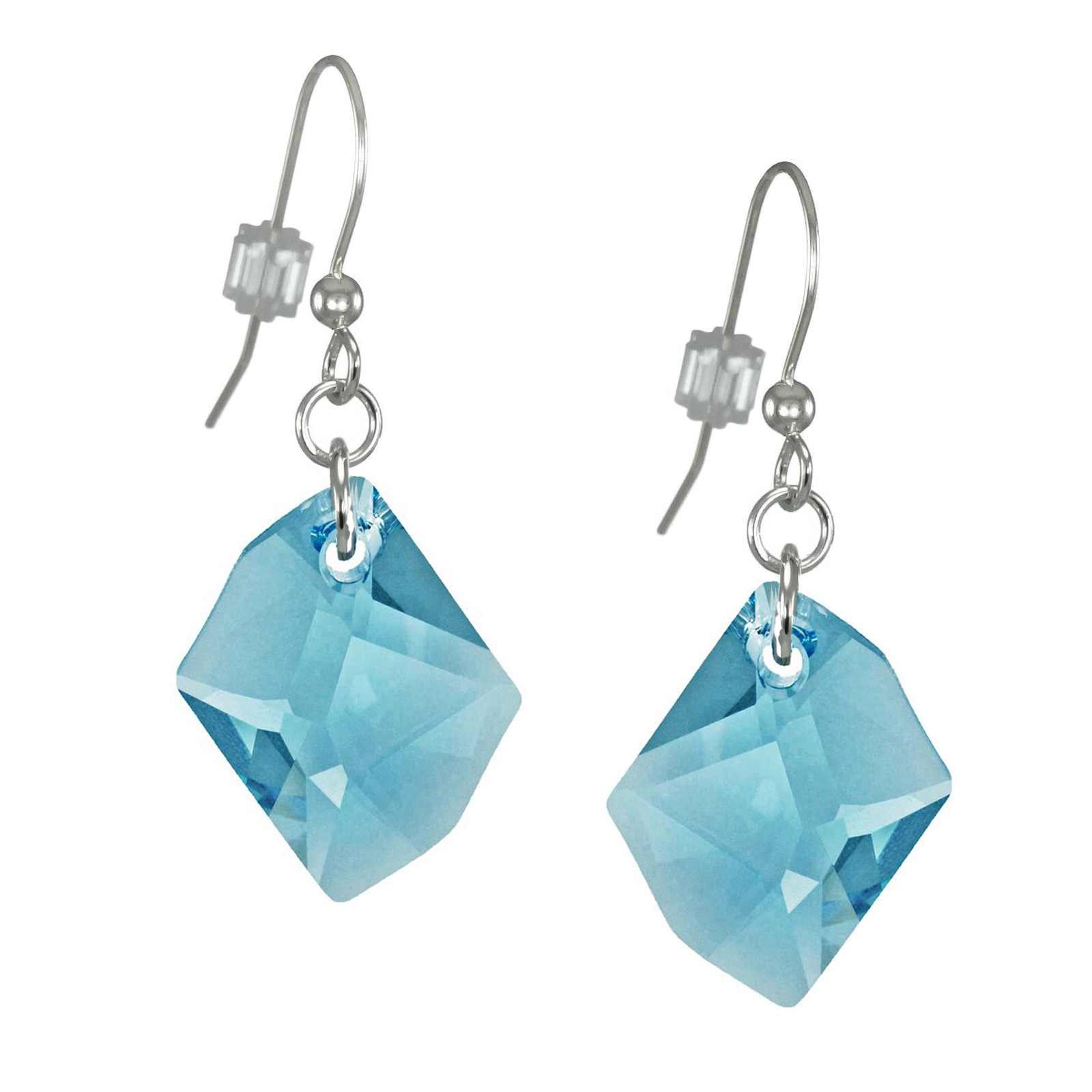 360cc0535 Handmade Jewelry by Dawn Large Aquamarine Swarovski Cosmic Crystal Sterling  Silver Earrings (USA)