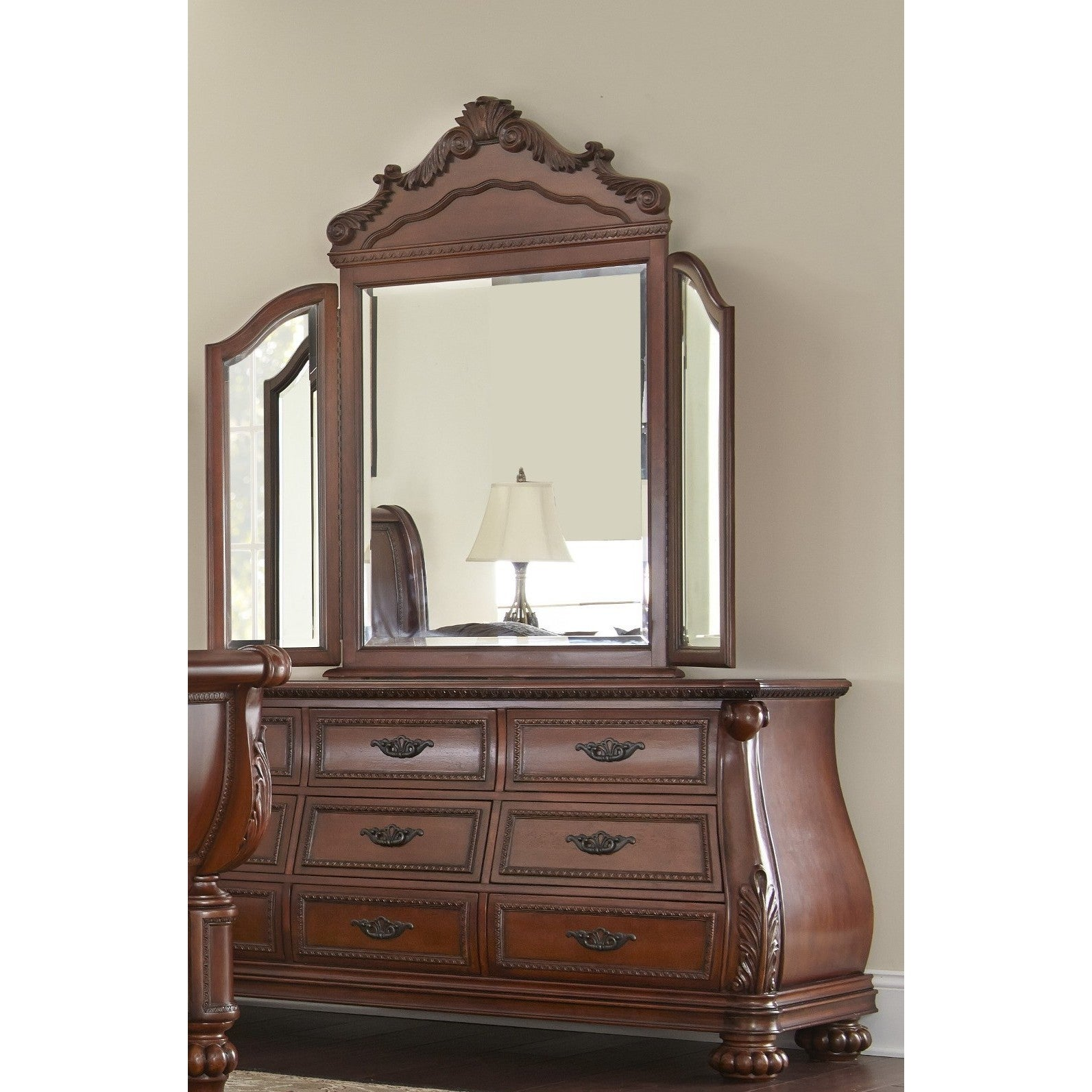 Shop lyke home myst cherry wood veneer dresser and mirror combo free shipping today overstock com 12091318