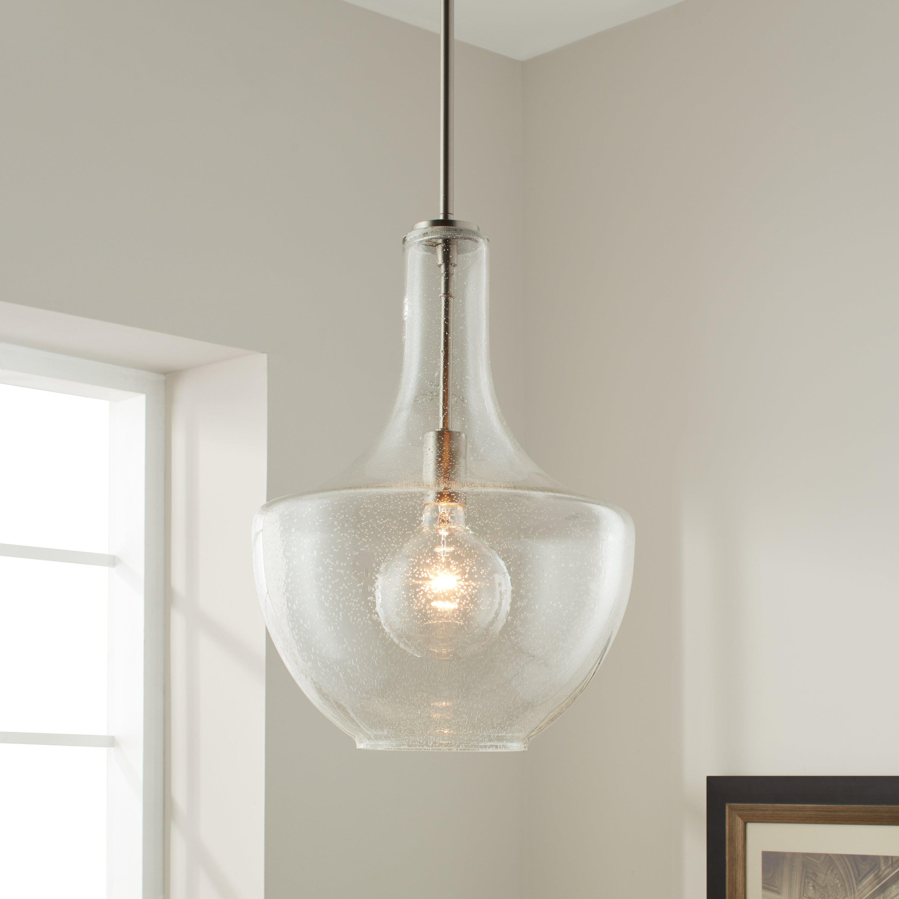 Kichler Lighting Everly Collection 1 Light Brushed Nickel Pendant 13 75 Inch Diameter On Free Shipping Today 12094224