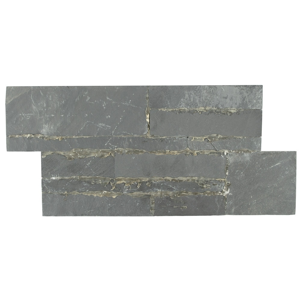 Somertile 7x13 5 Inch Piedra Black Slate Natural Stone Wall Tile 48 Tiles 31 Sqft Free Shipping Today 12095044