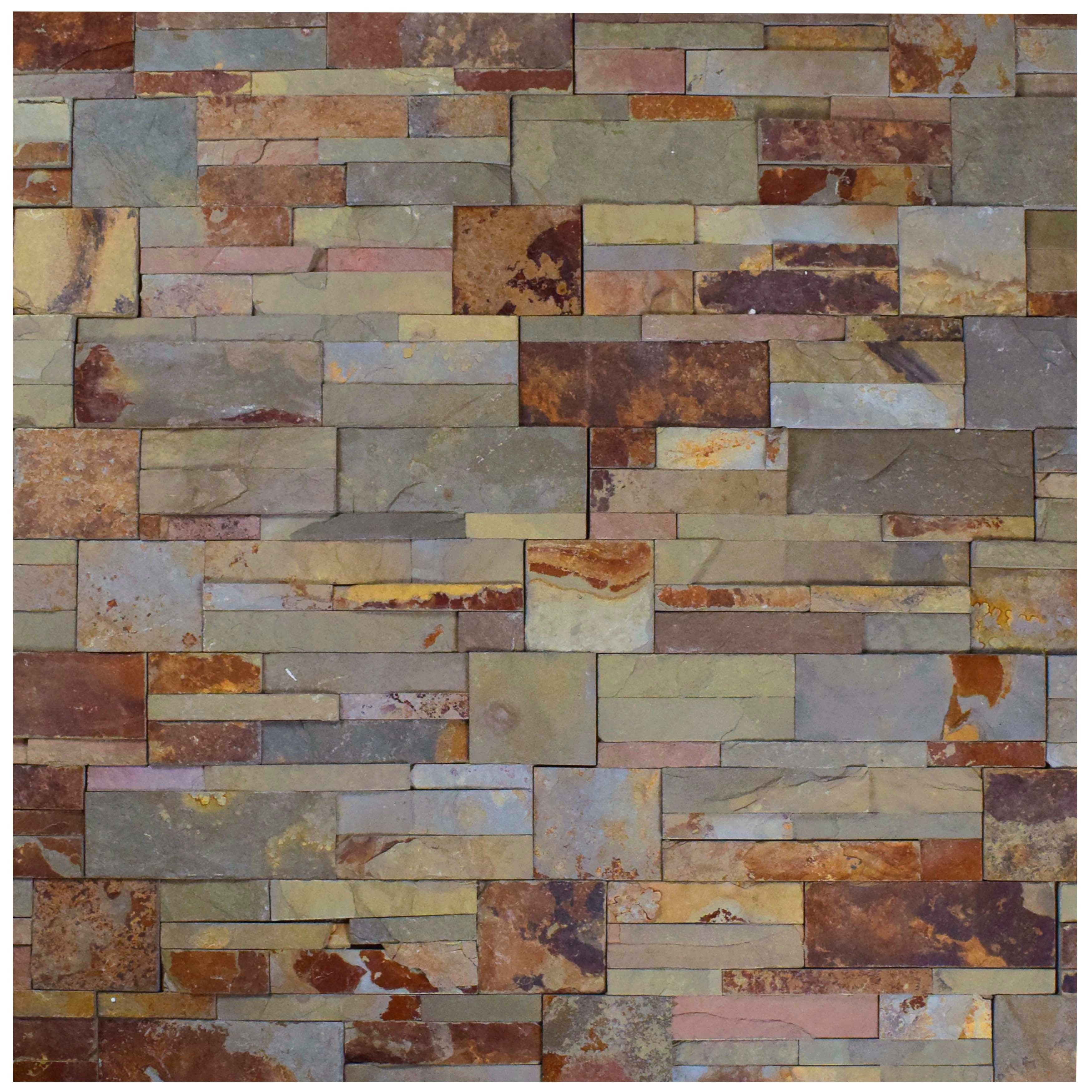 SomerTile 7x135inch Piedra Rusty Slate Natural Stone Wall Tile 48