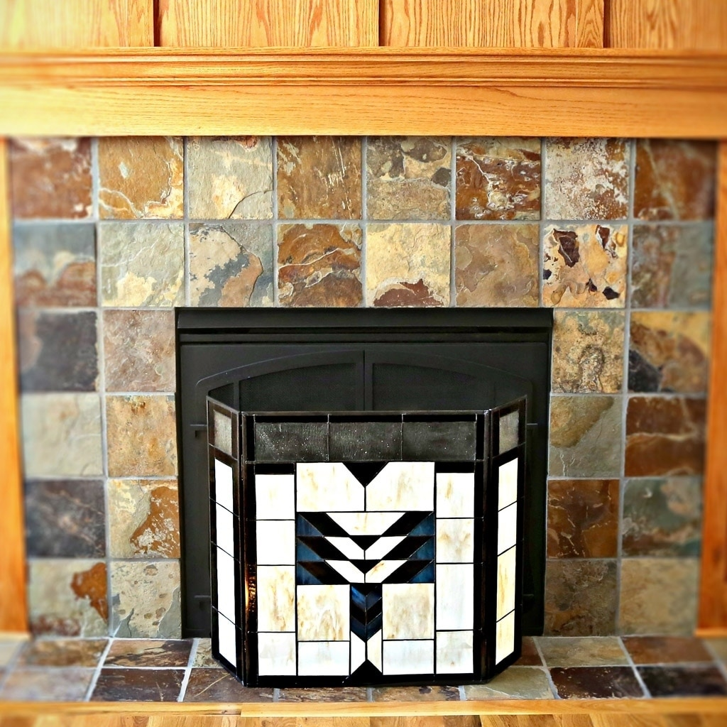 Shop 26 Inch Mission Style Stained Glass Fireplace Screen Free