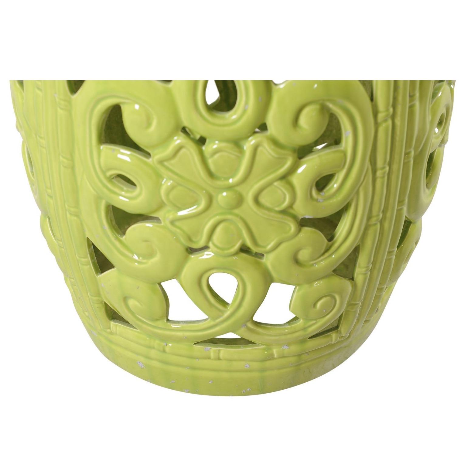 Beau Shop Lime Green Ceramic Garden Stool   Free Shipping Today   Overstock.com    12096924
