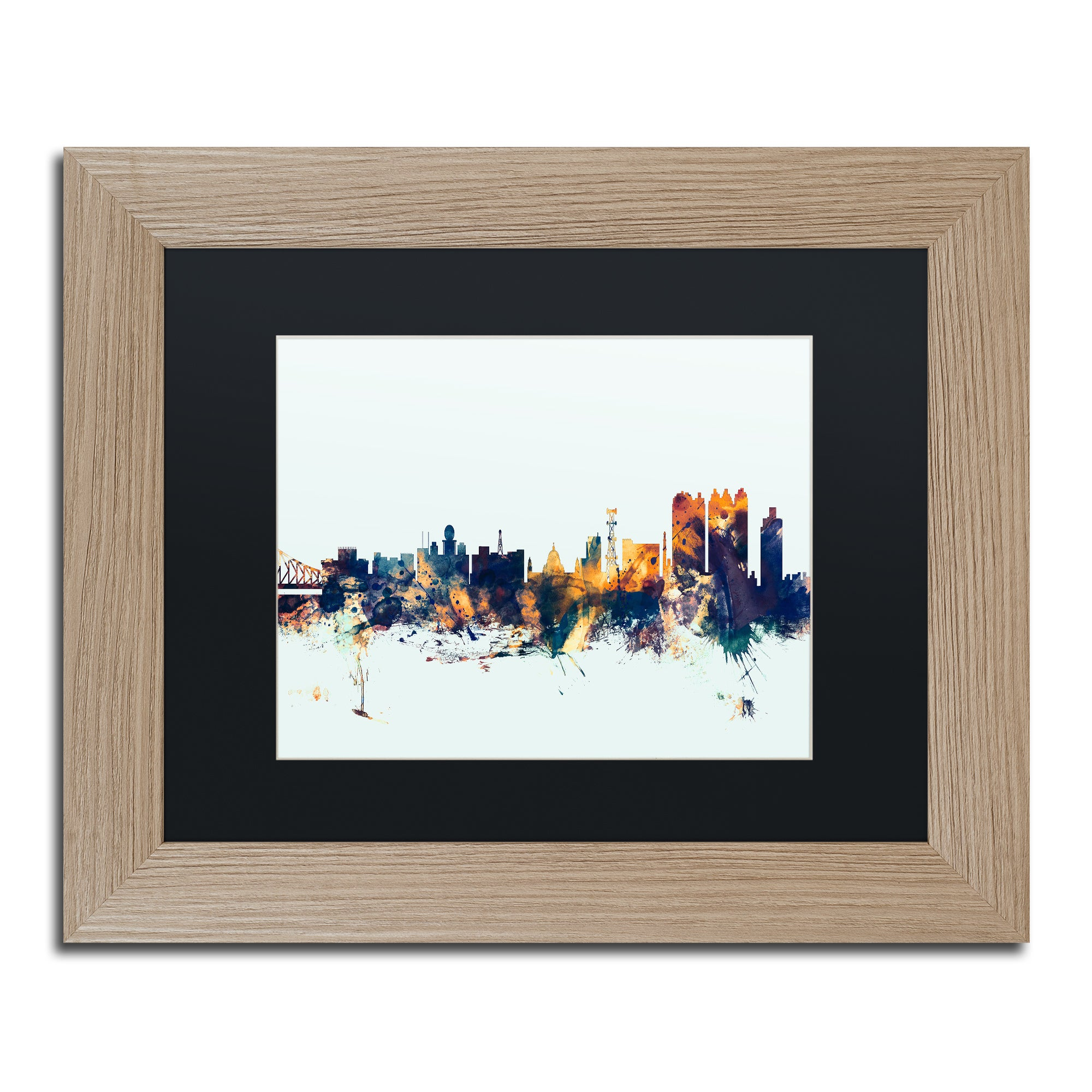 feee8c81472e Shop Michael Tompsett  Calcutta India Skyline Blue  Matted Framed Art -  Free Shipping Today - Overstock - 12099683