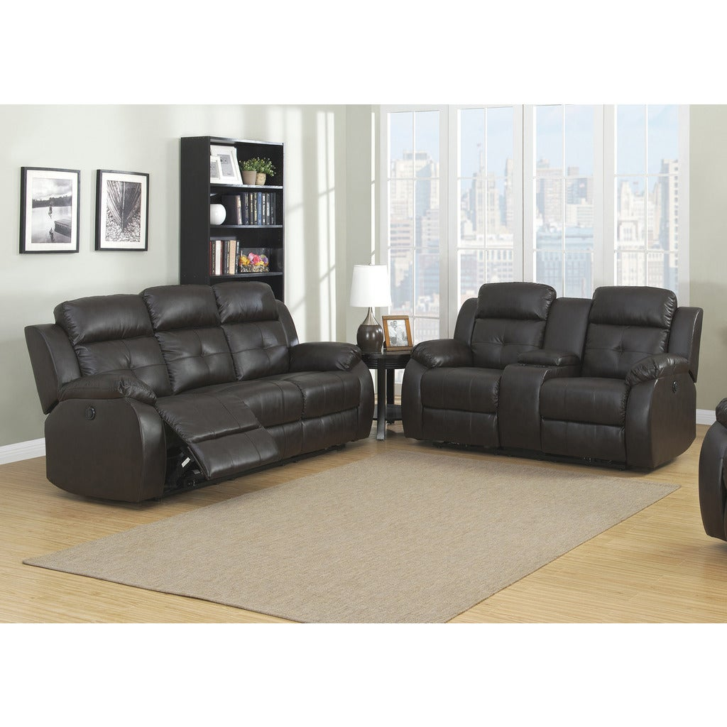Shop AC Pacific Troy Brown Bonded Leather 2-piece Power Sofa and ...