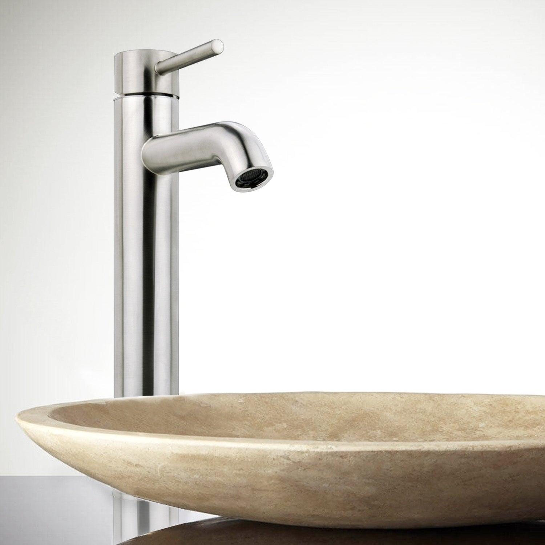 Shop iSpring Bathroom Faucet Brushed Nickel Vessel Sink Single ...