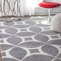 nuLOOM Handmade Modern Disco Grey Rug (4' x 6') (As Is Item)