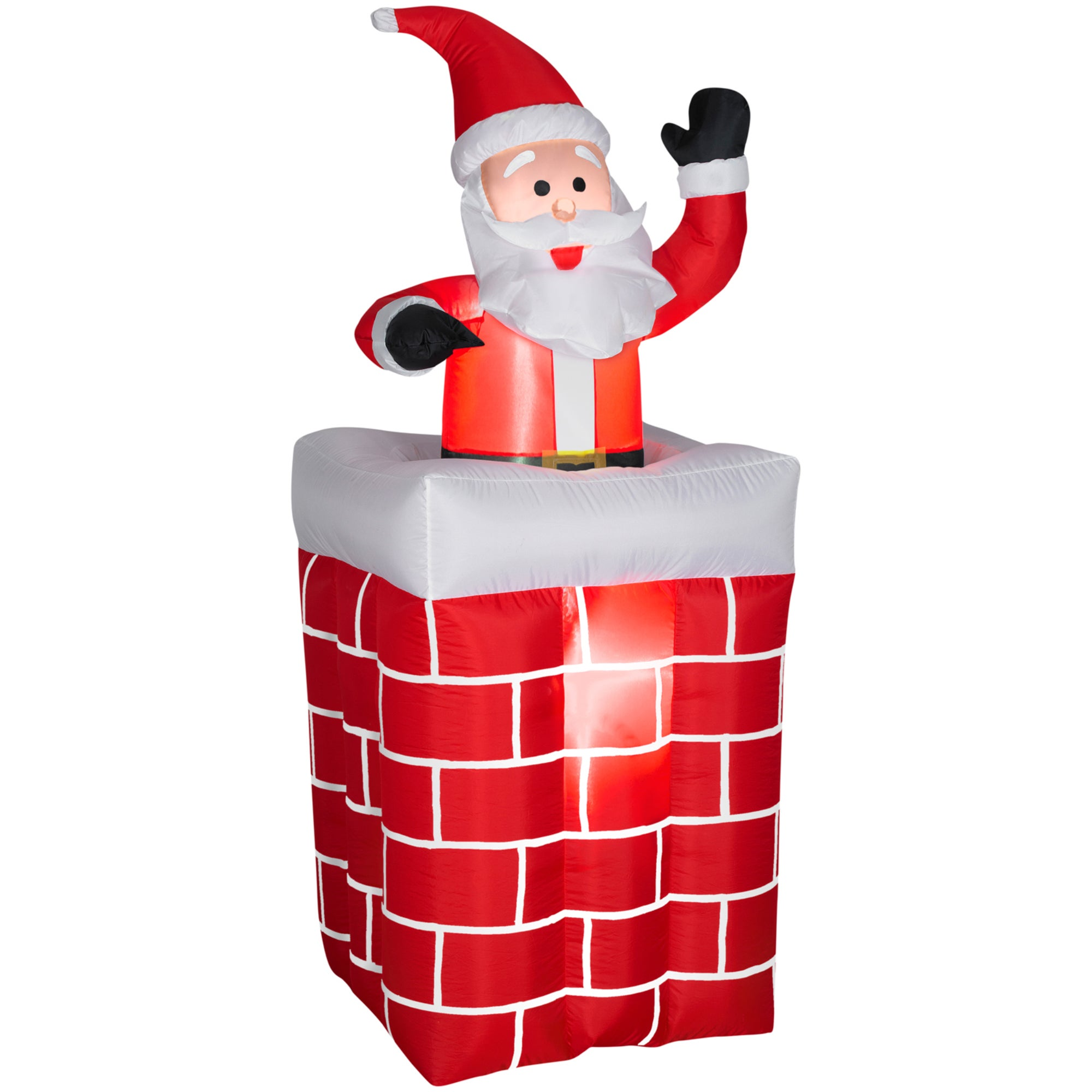 Shop Gemmy Airblown Inflatables Animated Santa Rises From Chimney ...