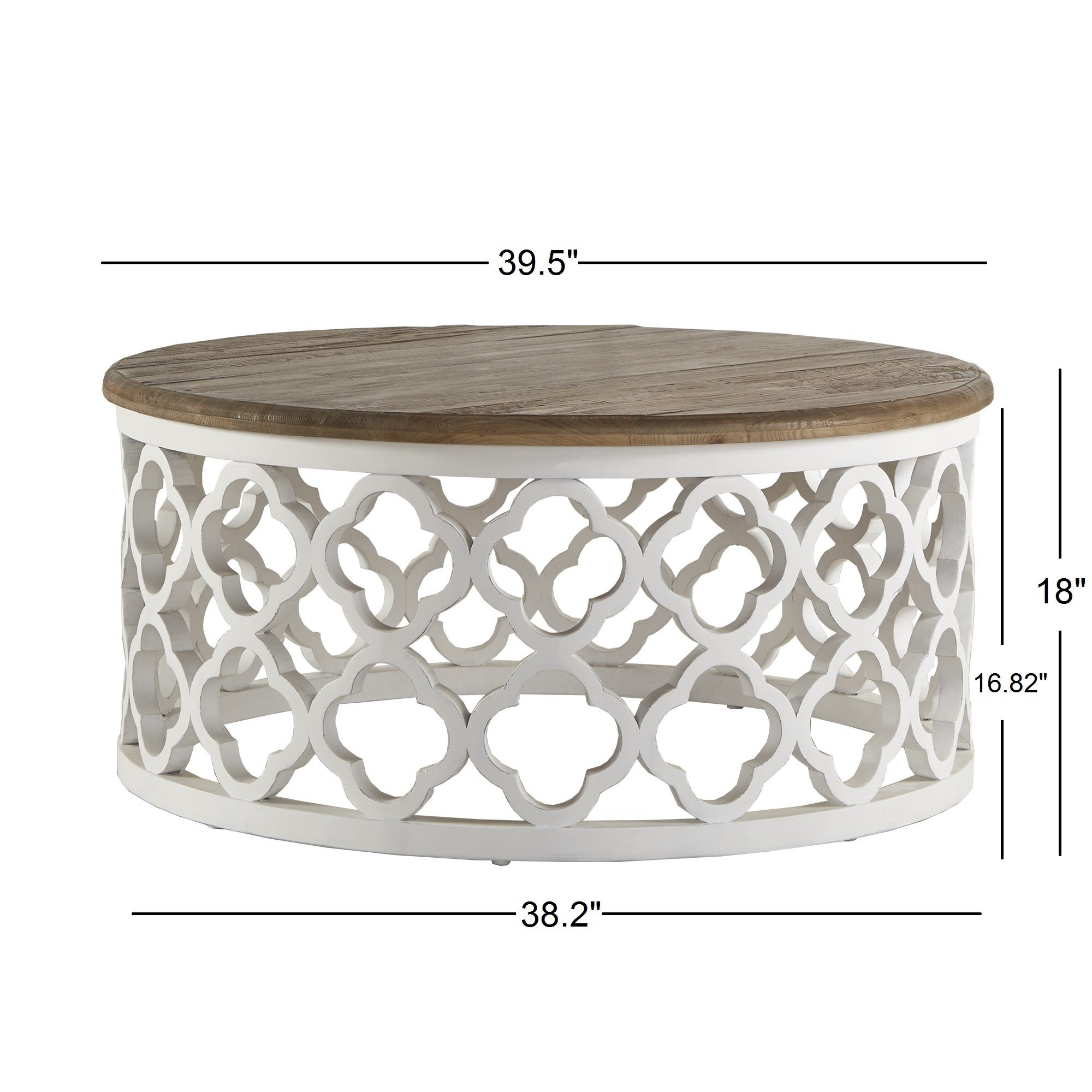 vince reclaimed wood moroccan trellis drum coffee table by inspire