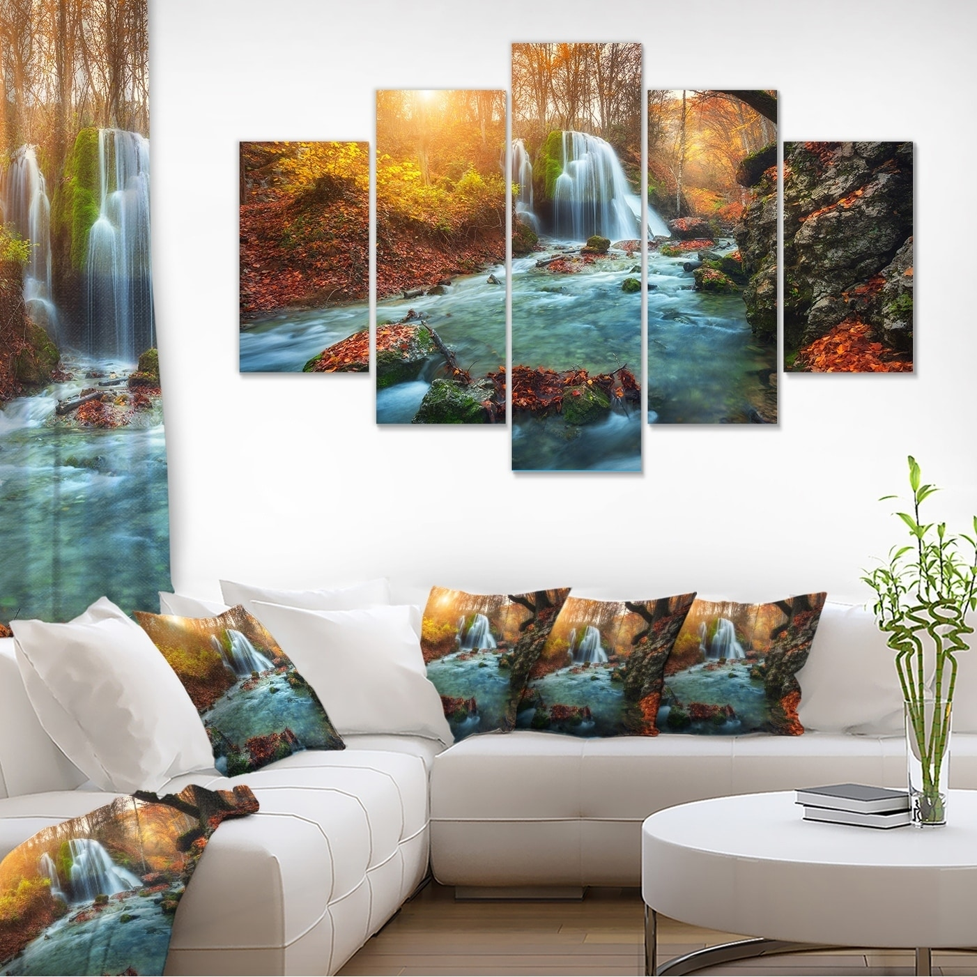 Fast flowing fall river in forest landscape photography wall art