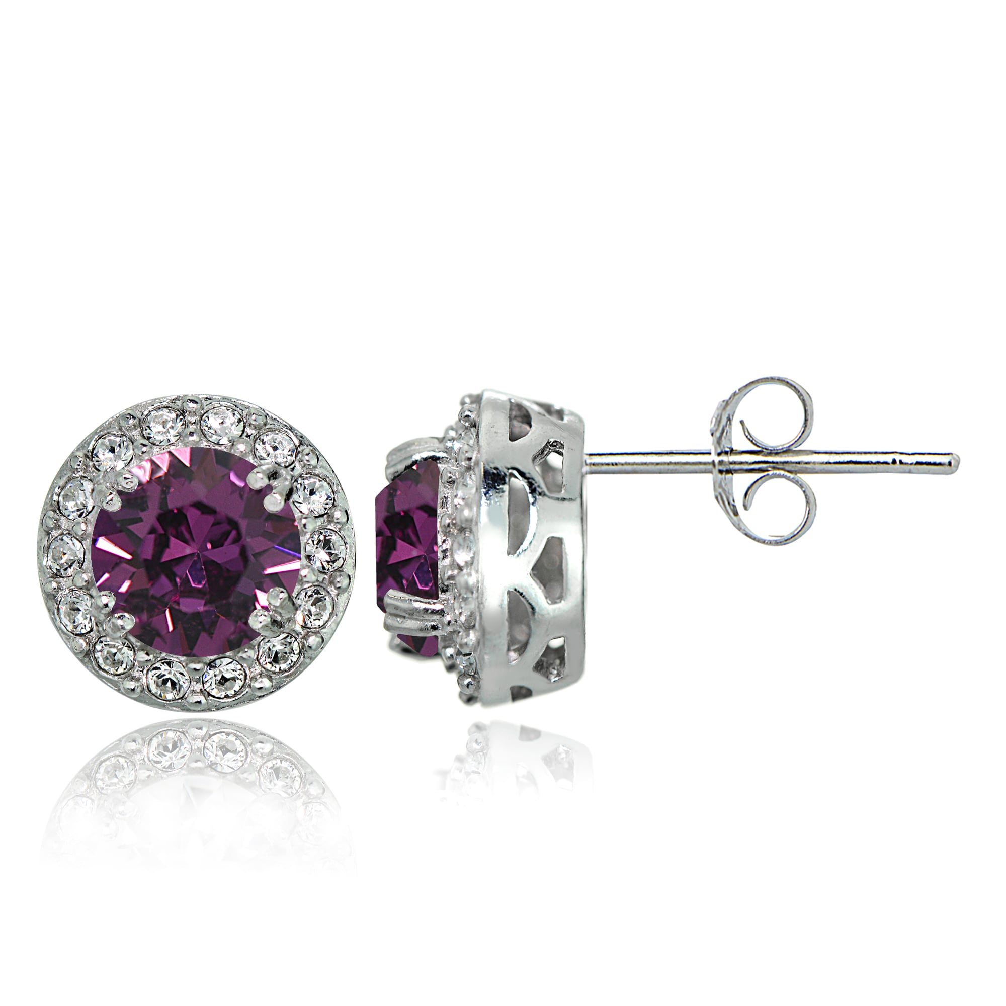 Crystal Ice Sterling Silver Swarovski Elements Birthstone Halo Stud Earrings On Free Shipping Orders Over 45 12113384