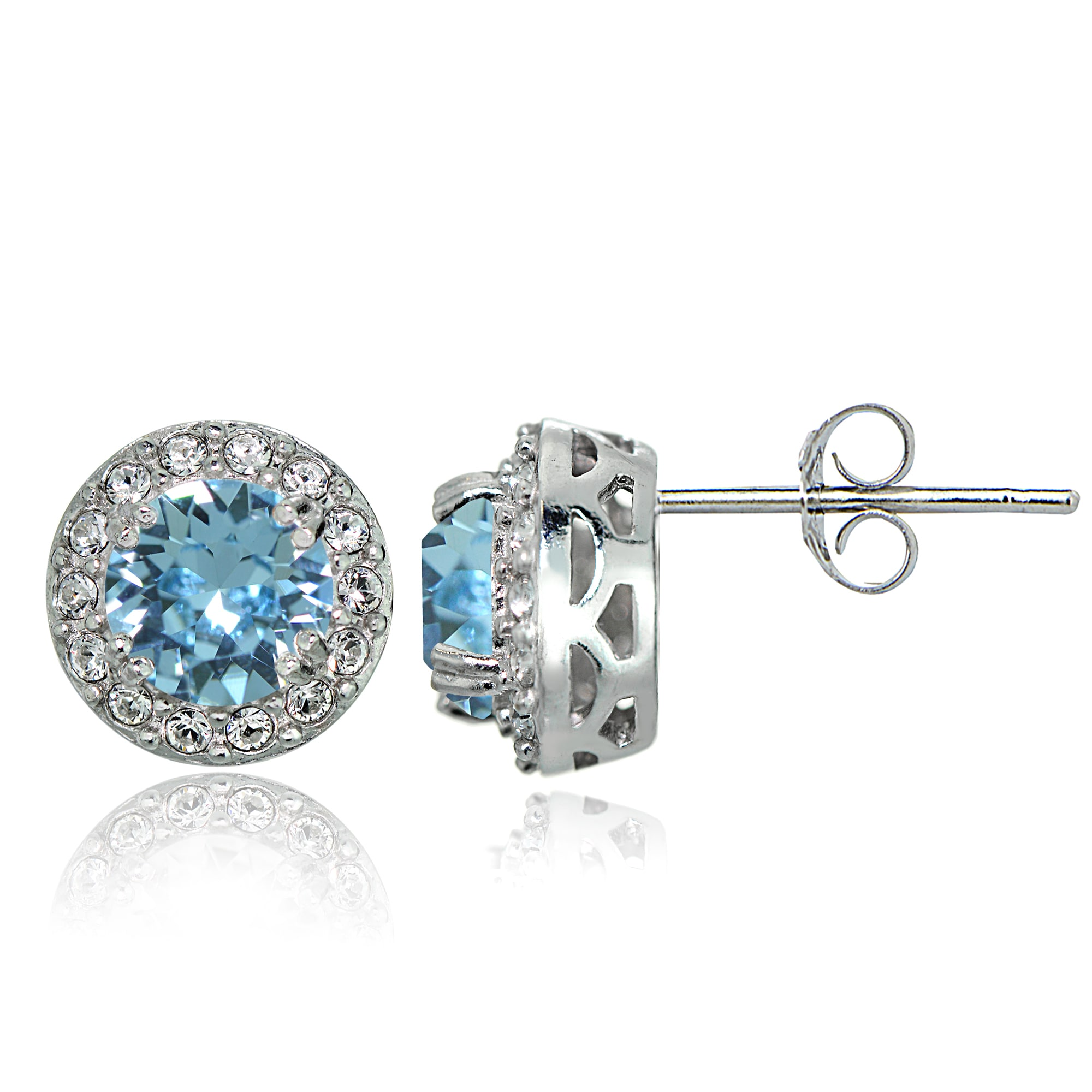 1a9a75777027a6 Shop Crystal Ice Sterling Silver Swarovski Elements Birthstone Halo Stud  Earrings - On Sale - Free Shipping On Orders Over  45 - Overstock - 12113384